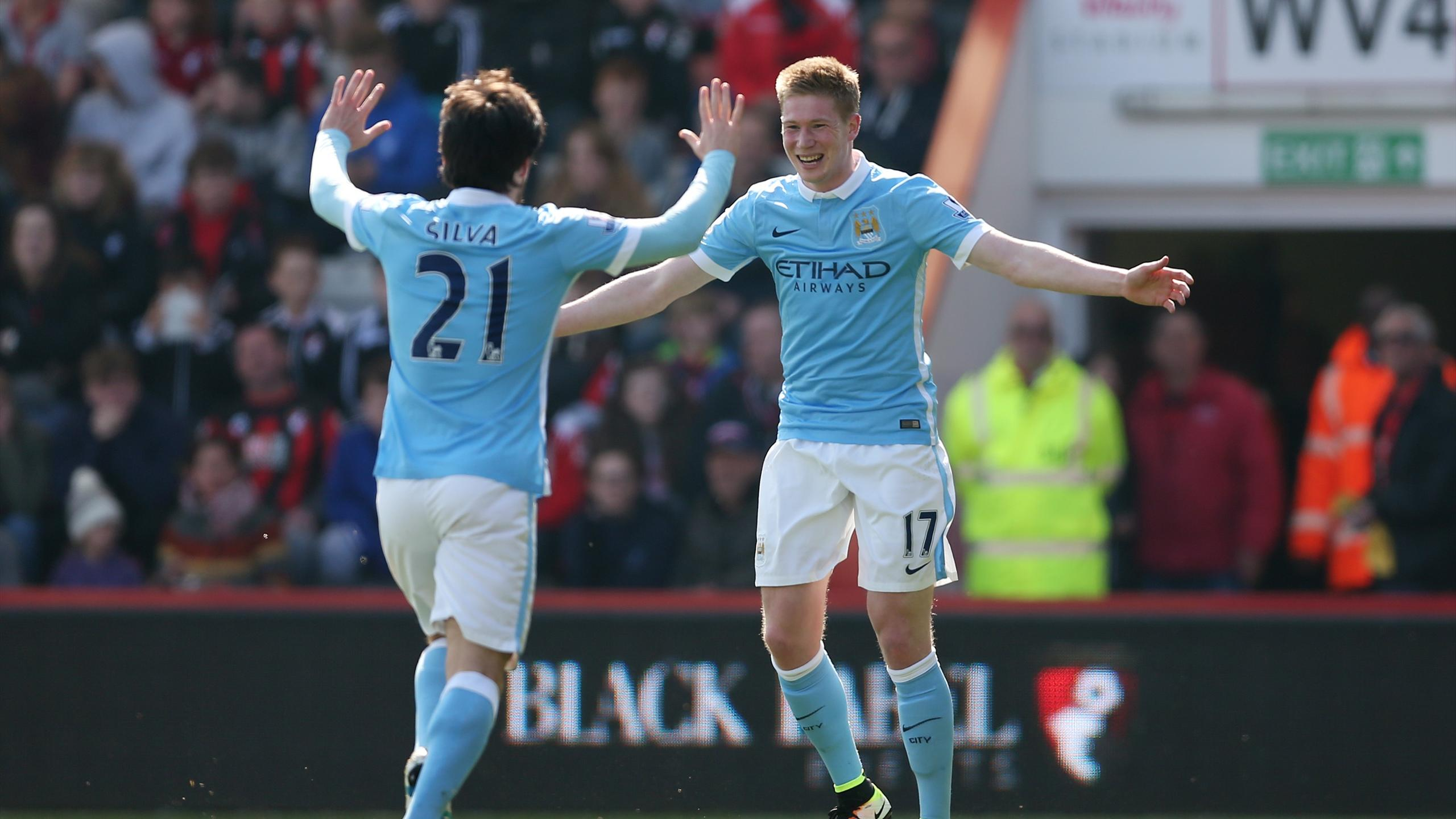 Kevin De Bruyne celebrates after scoring the second goal for Manchester City