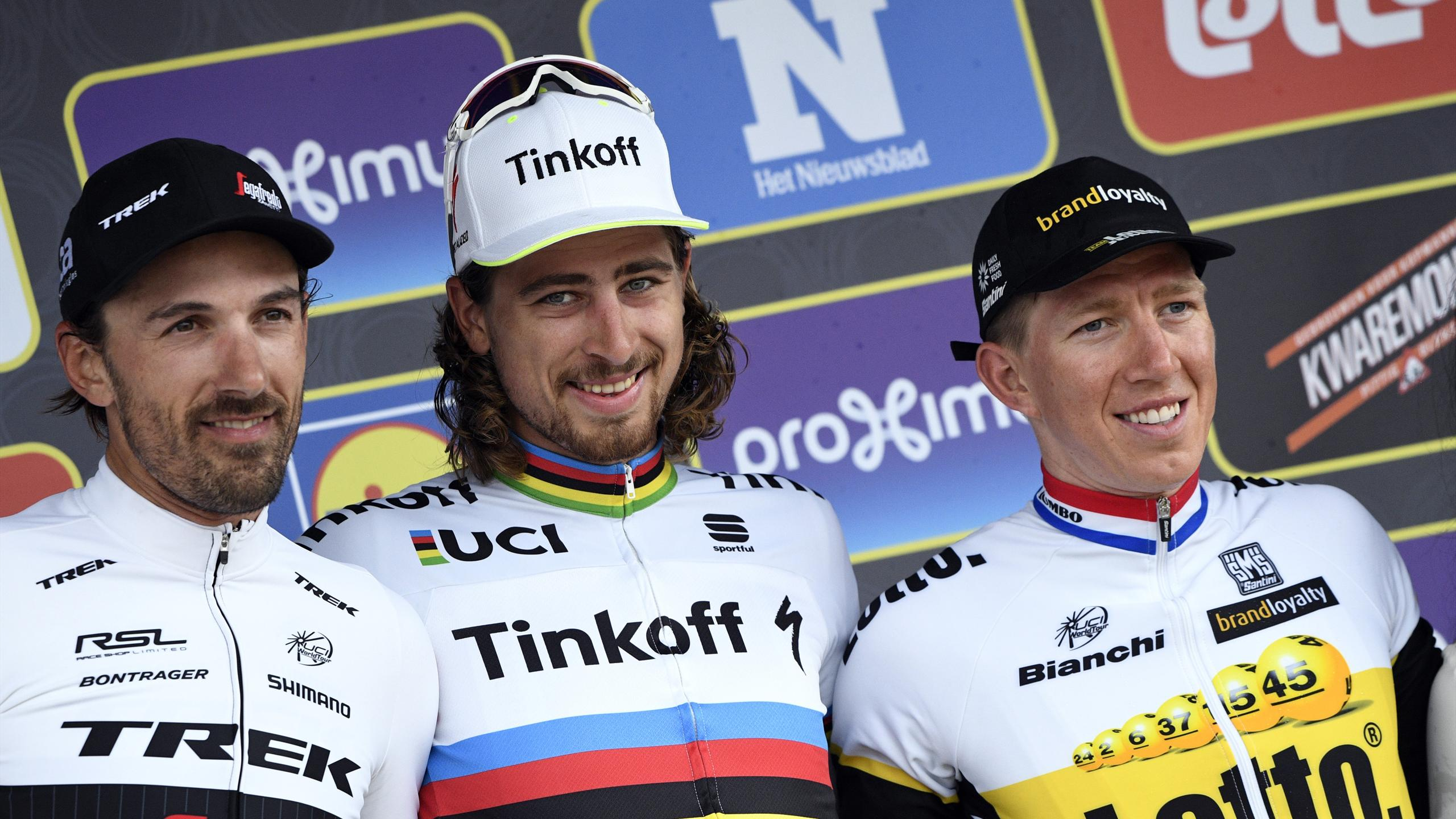 Peter Sagan sur le podium du Tour des Flandres