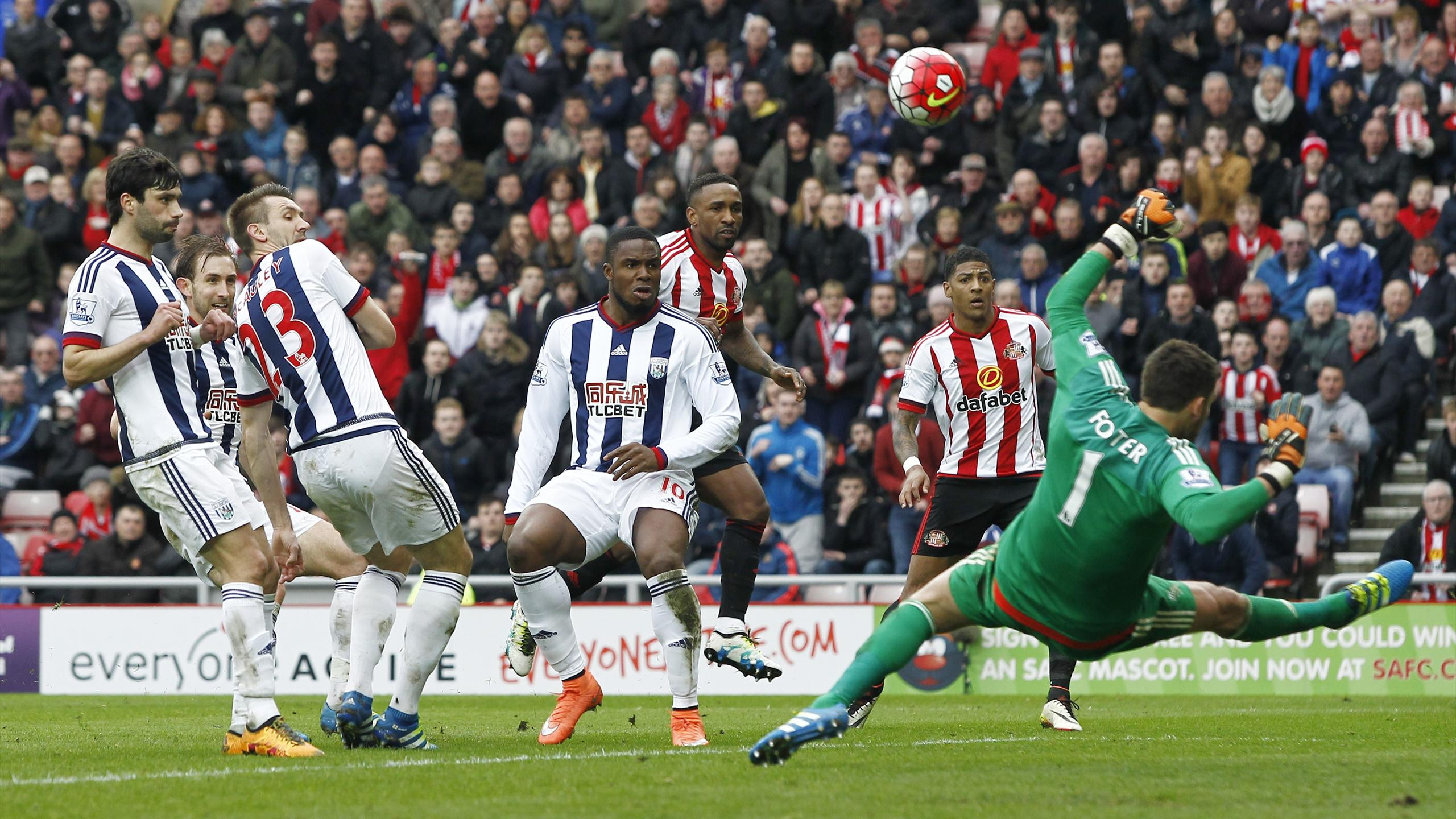 Sunderland's Jermain Defoe has a shot saved by West Brom's Ben Foster