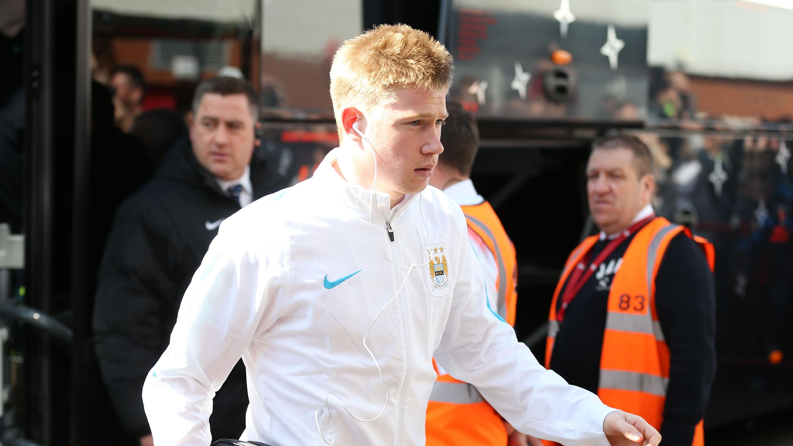 Manchester City's Kevin De Bruyne arrives before the match