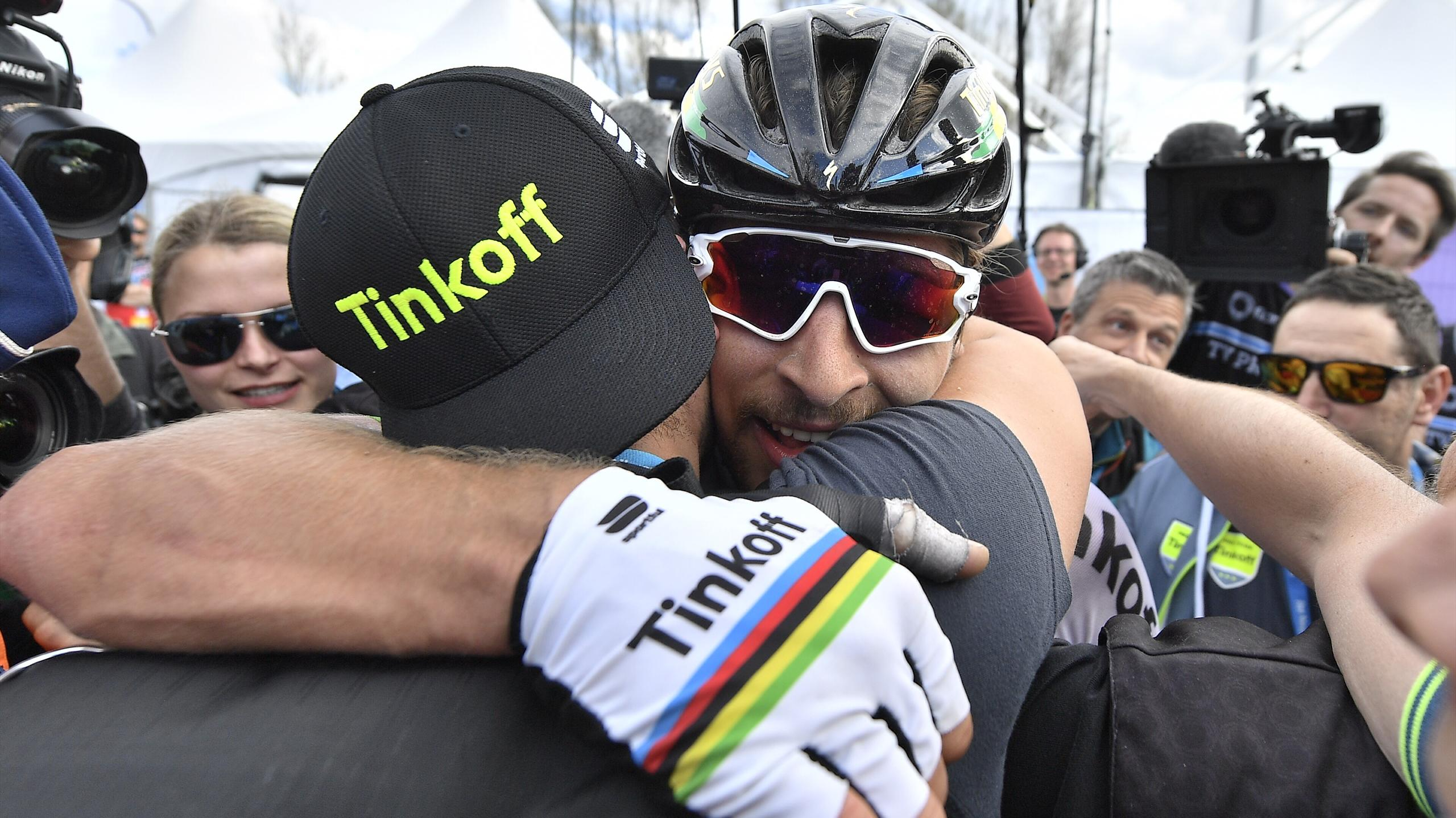 Slovakian world champion Peter Sagan (team Tinkoff) celebrates after winning the 100th edition of the 'Ronde van Vlaanderen - Tour des Flandres
