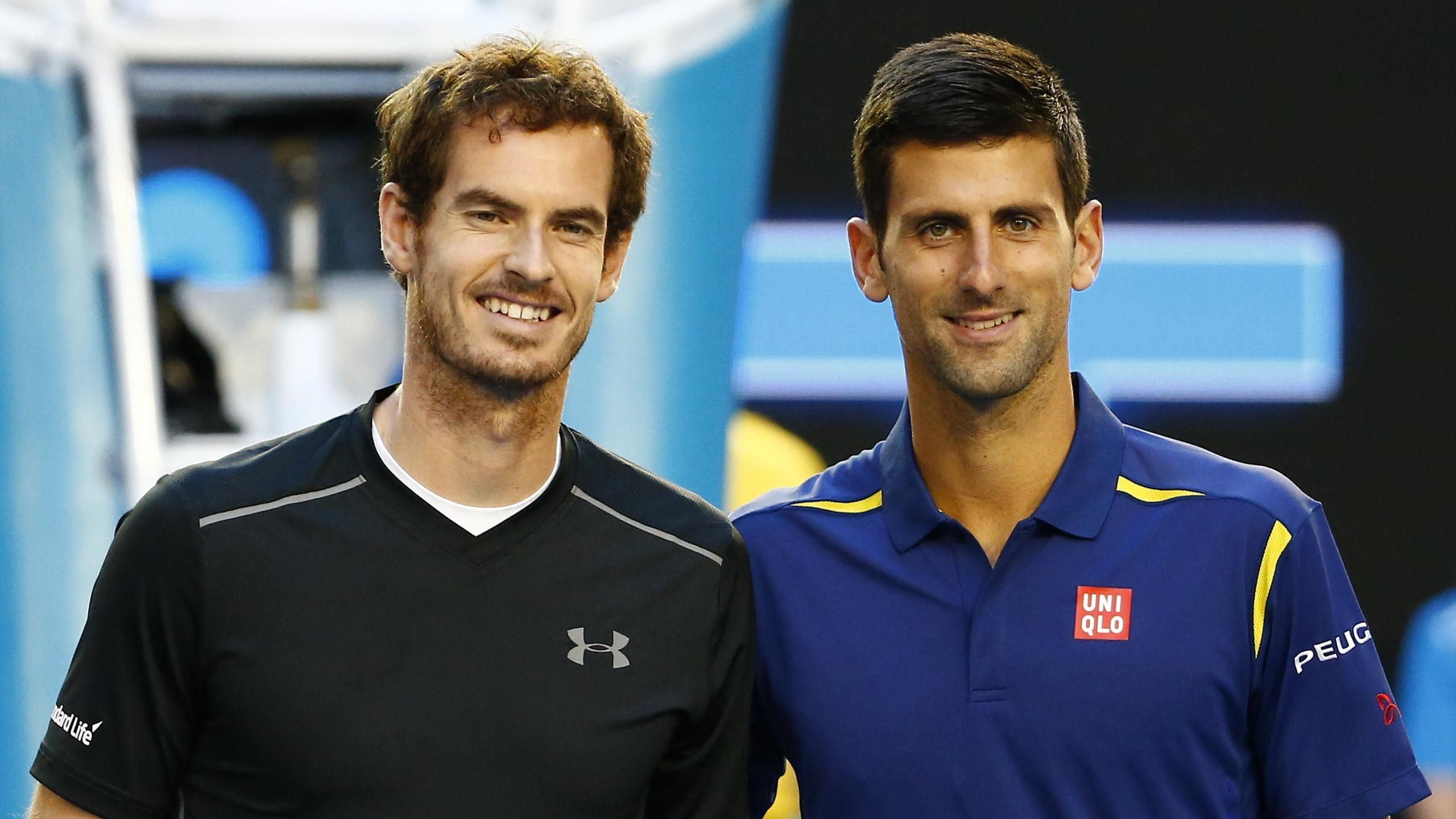 Britain's Andy Murray and Serbia's Novak Djokovic pose for a photo before their final match at the Australian Open
