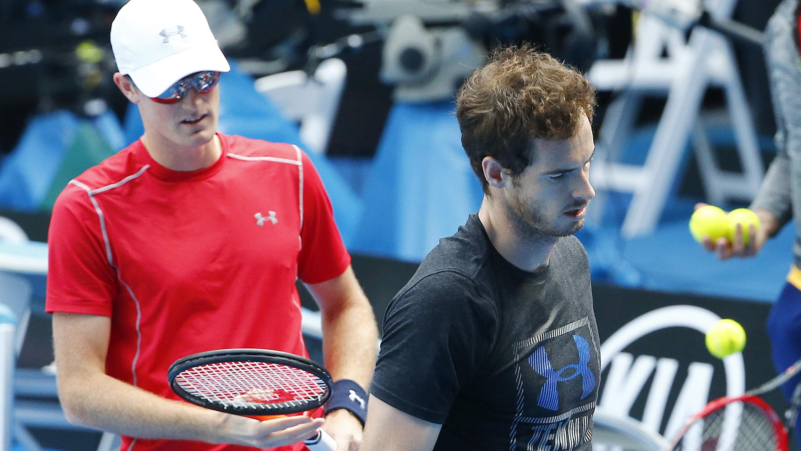 Britain's Andy Murray with brother Jamie at a training session at the Australian Open in Melbourne