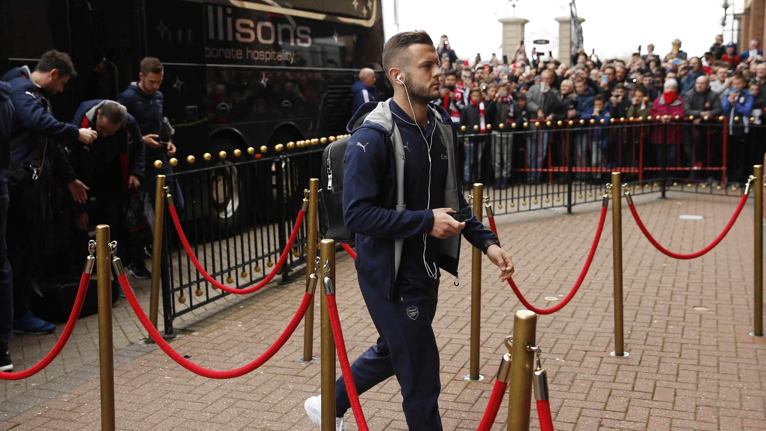 Arsenal's Jack Wilshere arrives at the stadium before the game