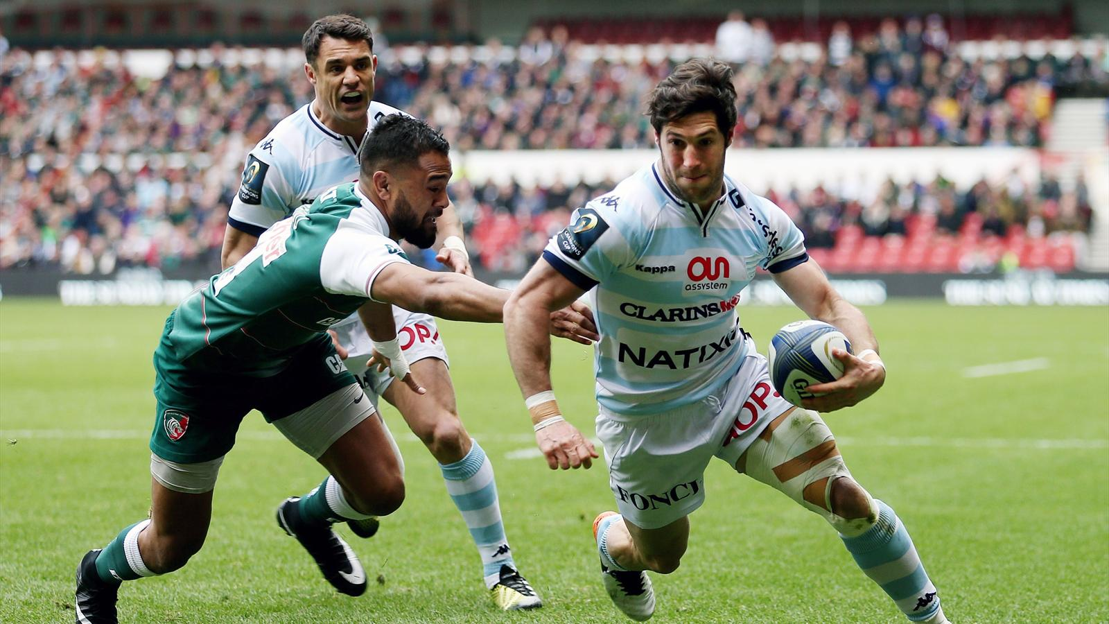 Maxime Machenaud et Dan Carter (Racing 92) face à Leicester - 24 avril 2016