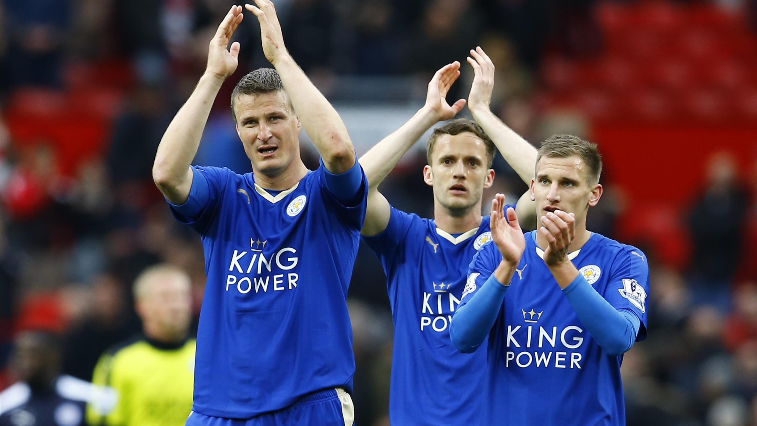 Leicester City's Robert Huth applauds the fans at the end of the game