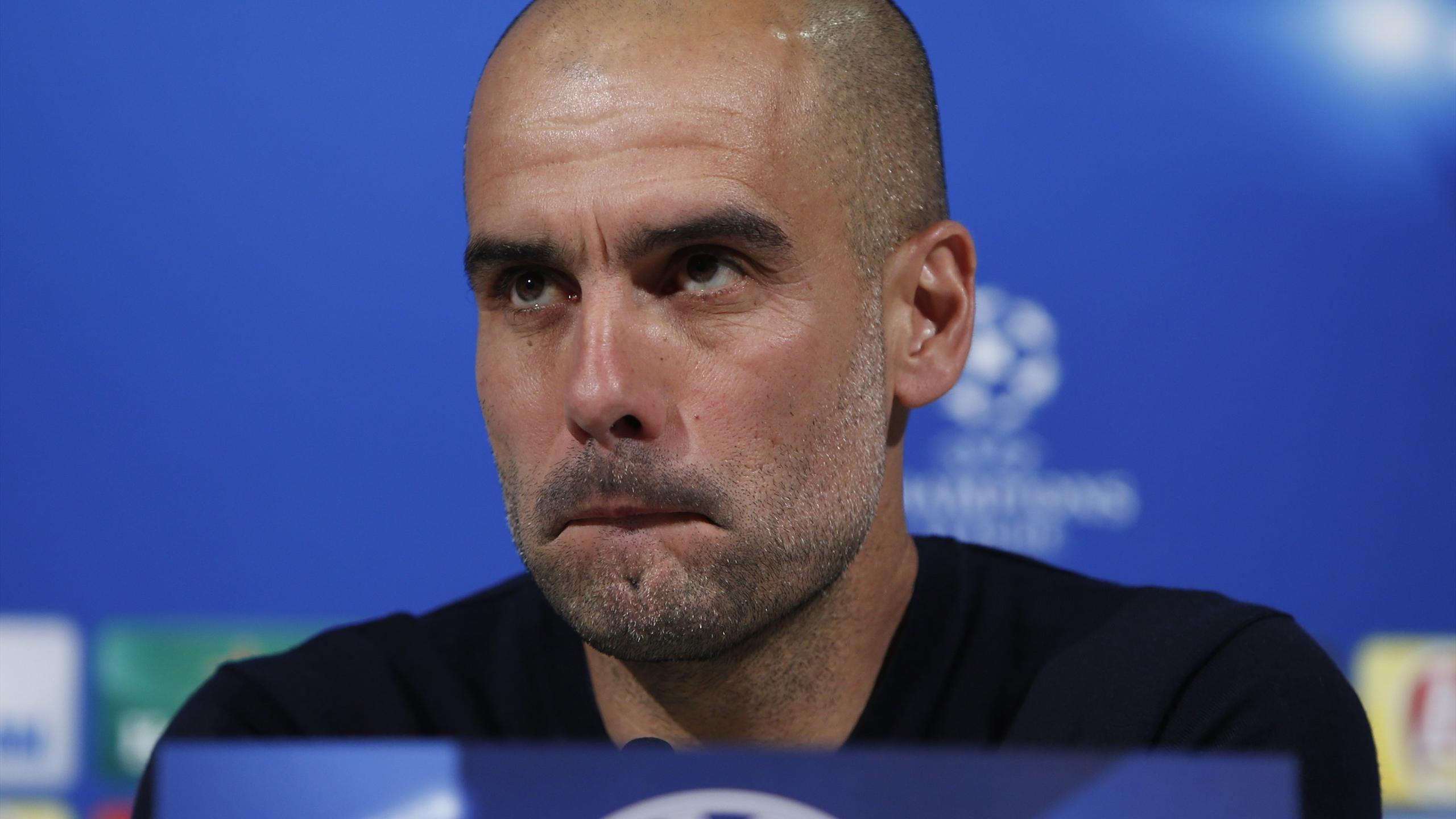 Bayern Munich's coach Pep Guardiola during news conference prior to UEFA Champions League semi-final return match against Atletico Madrid