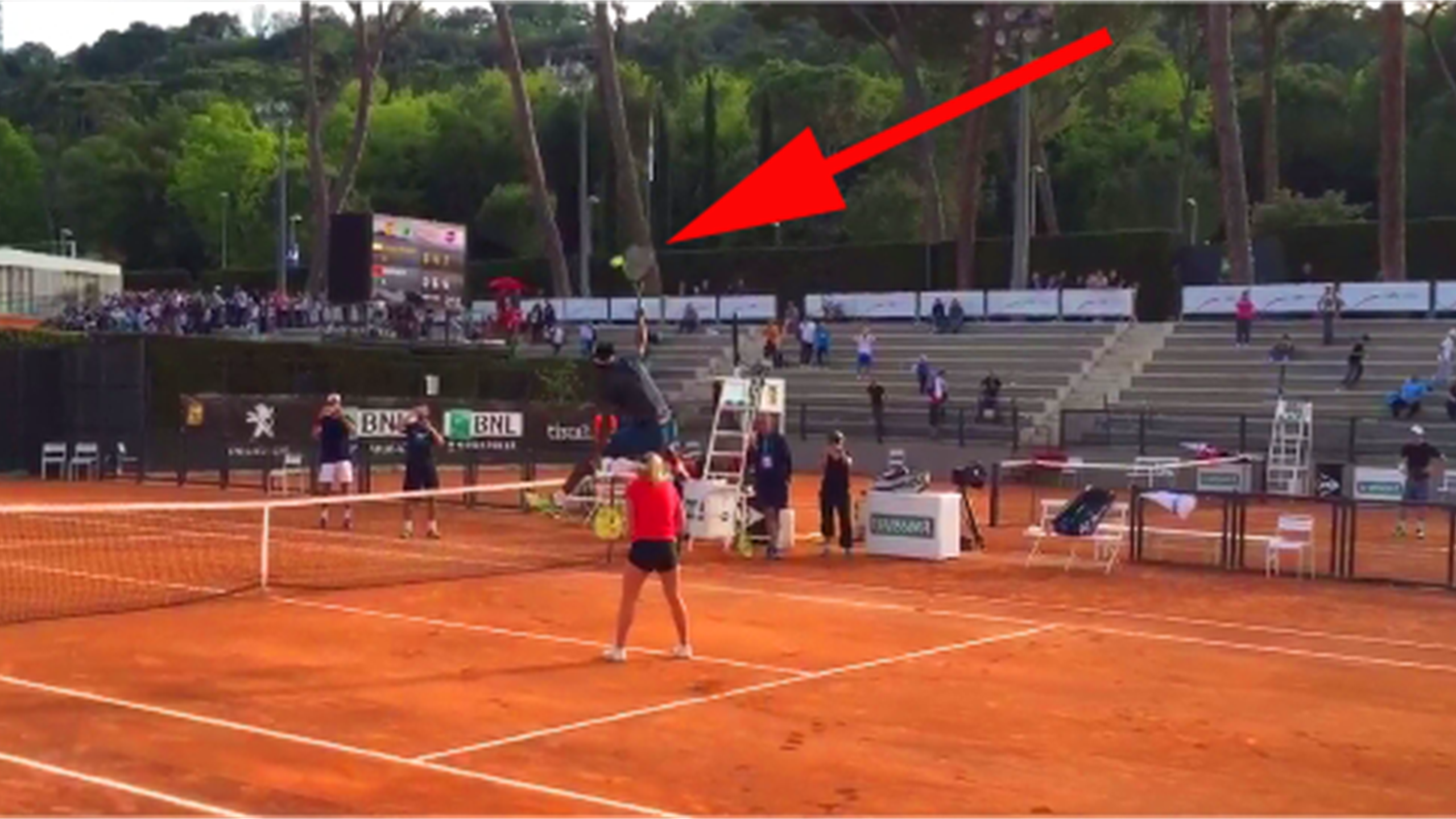 Gael Monfils hurdles mixed doubles partner to unleash amazing smash (Twitter)