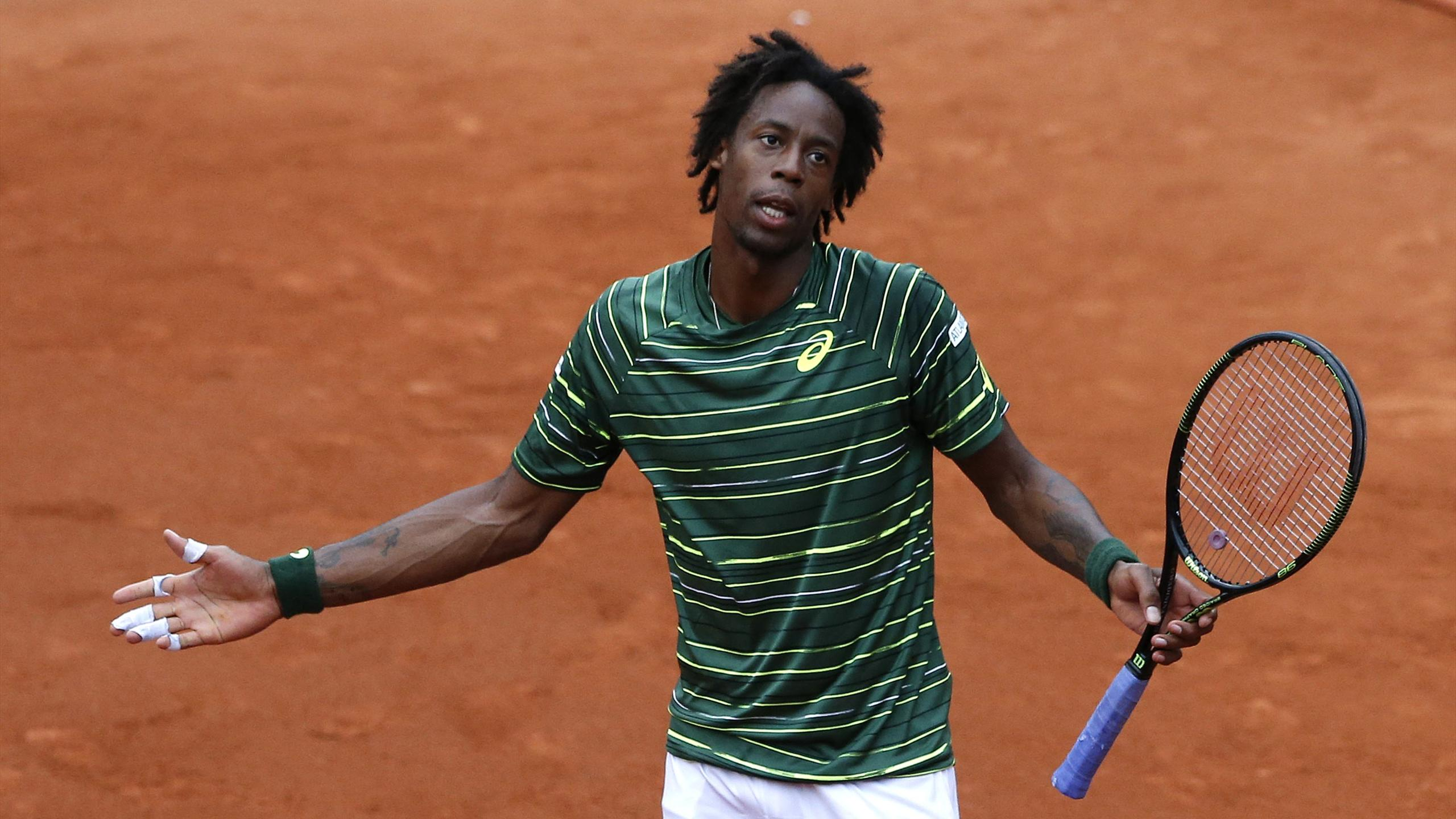 Gael Monfils of France playing at Roland Garros in 2015