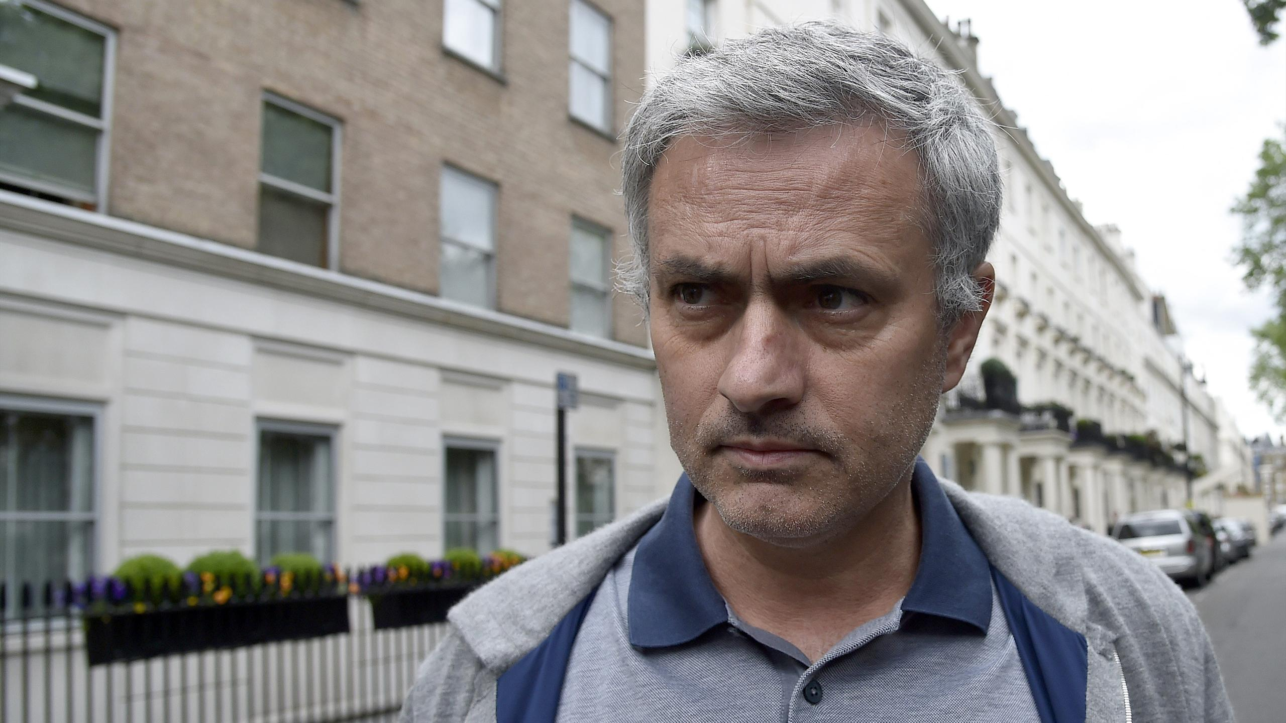 Former Chelsea manager Jose Mourinho leaves his house in London