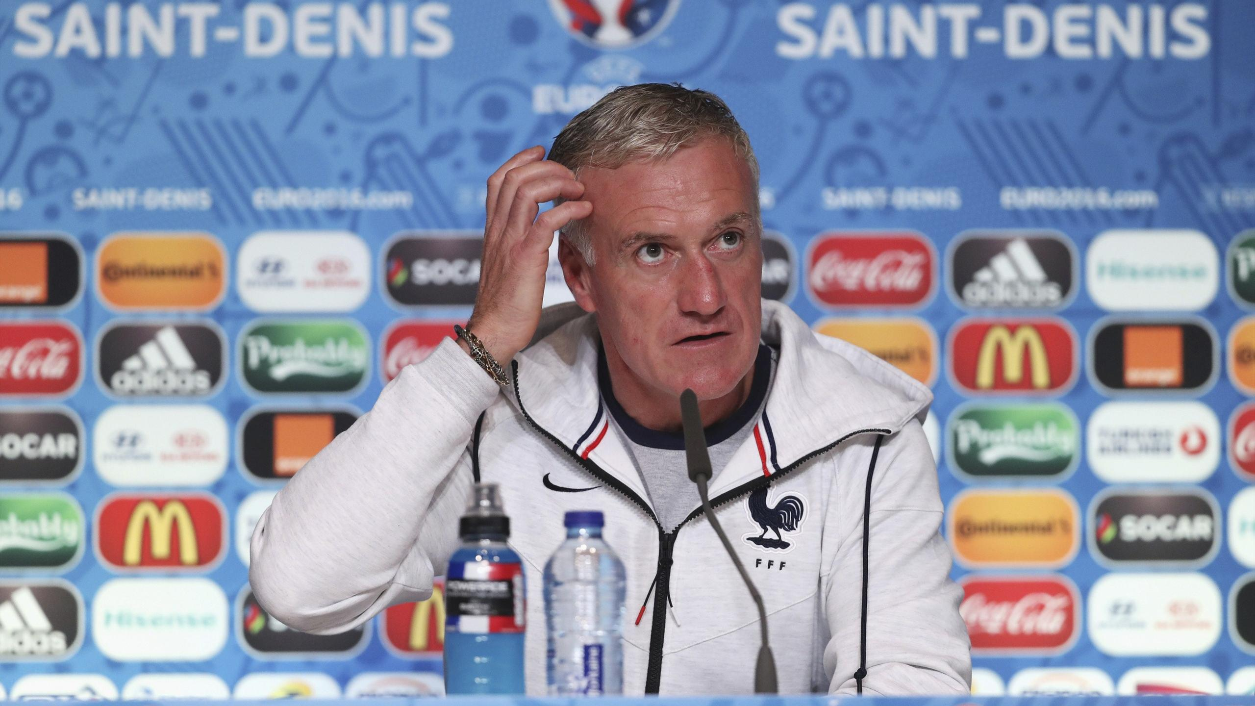 France head coach Didier Deschamps during a news conference