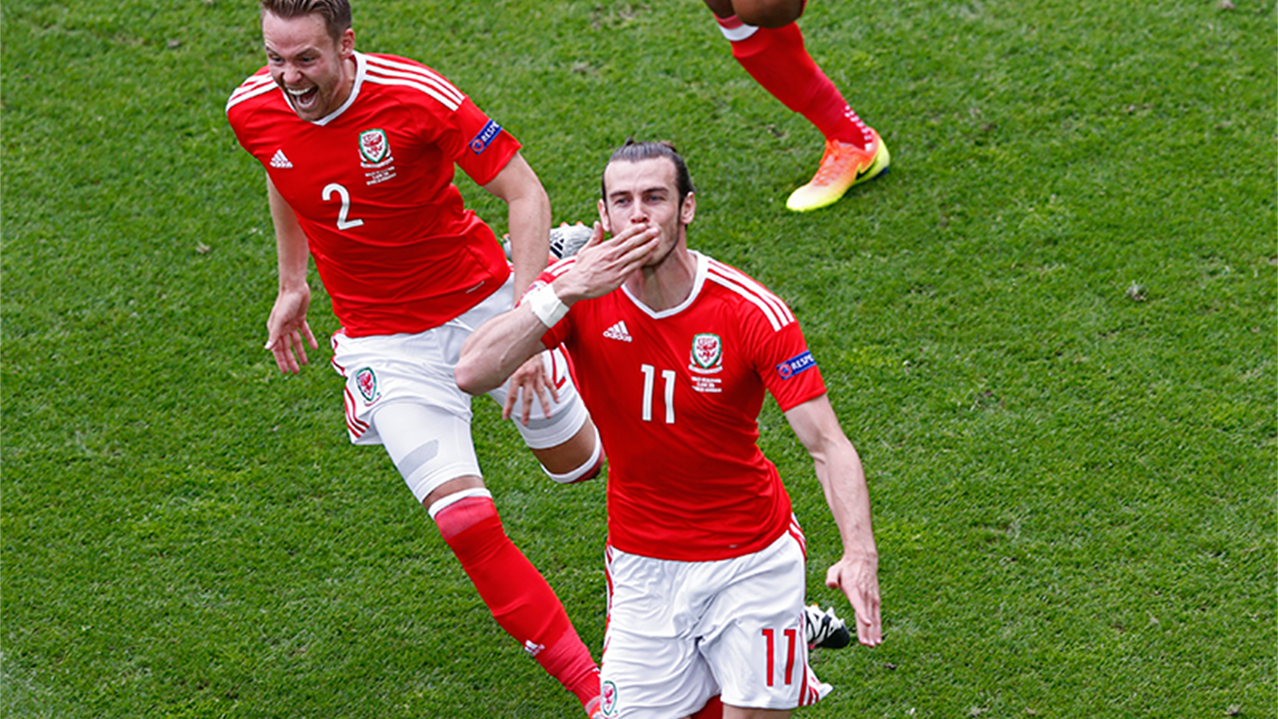 Wales' Gareth Bale celebrates scoring for Wales against Slovakia