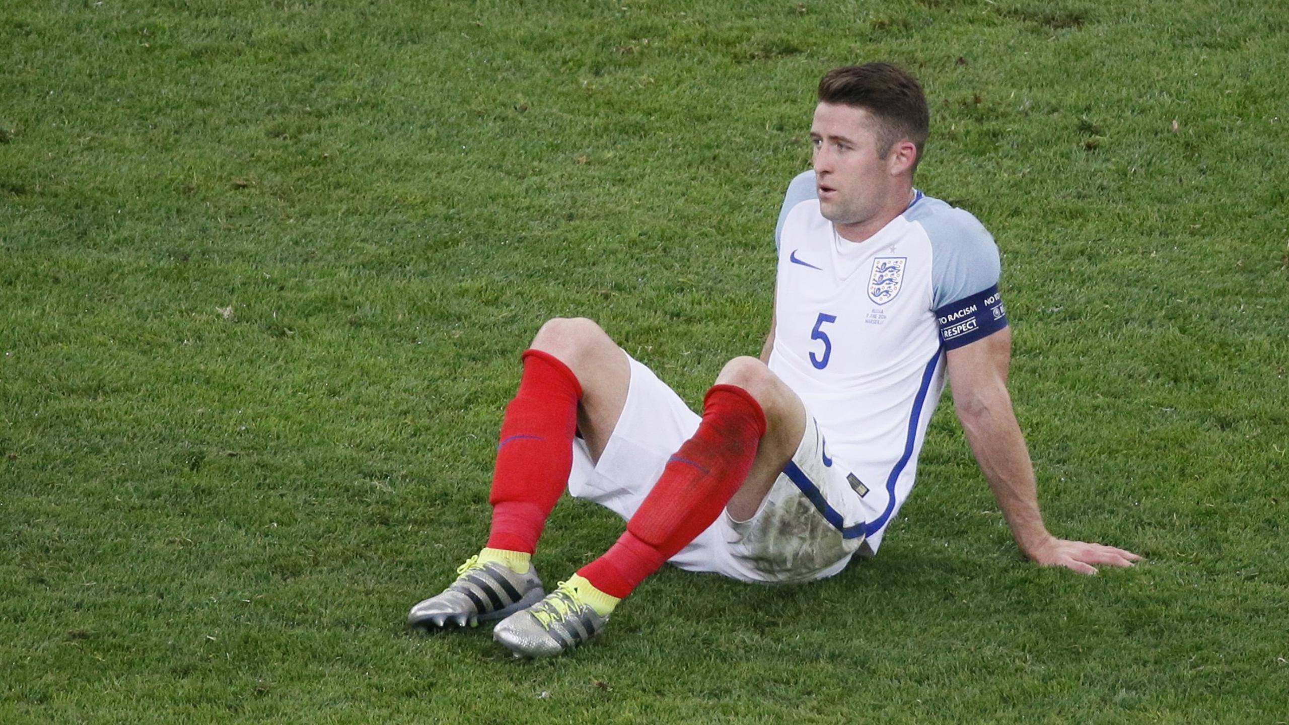 England's Gary Cahill reacts after the match.