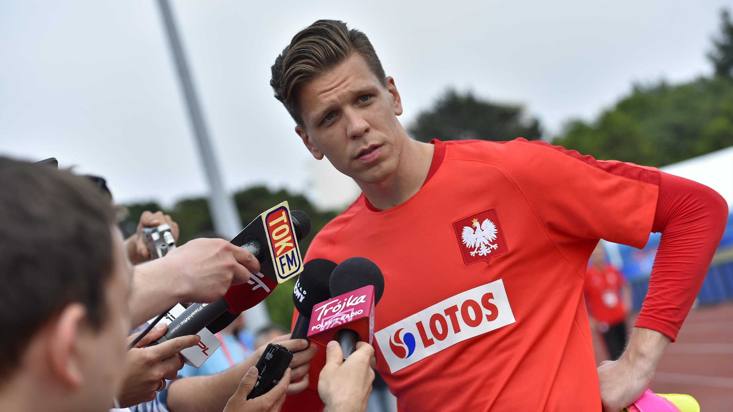 Poland's goalkeeper Wojciech Szczesny is pictured as he answers questions