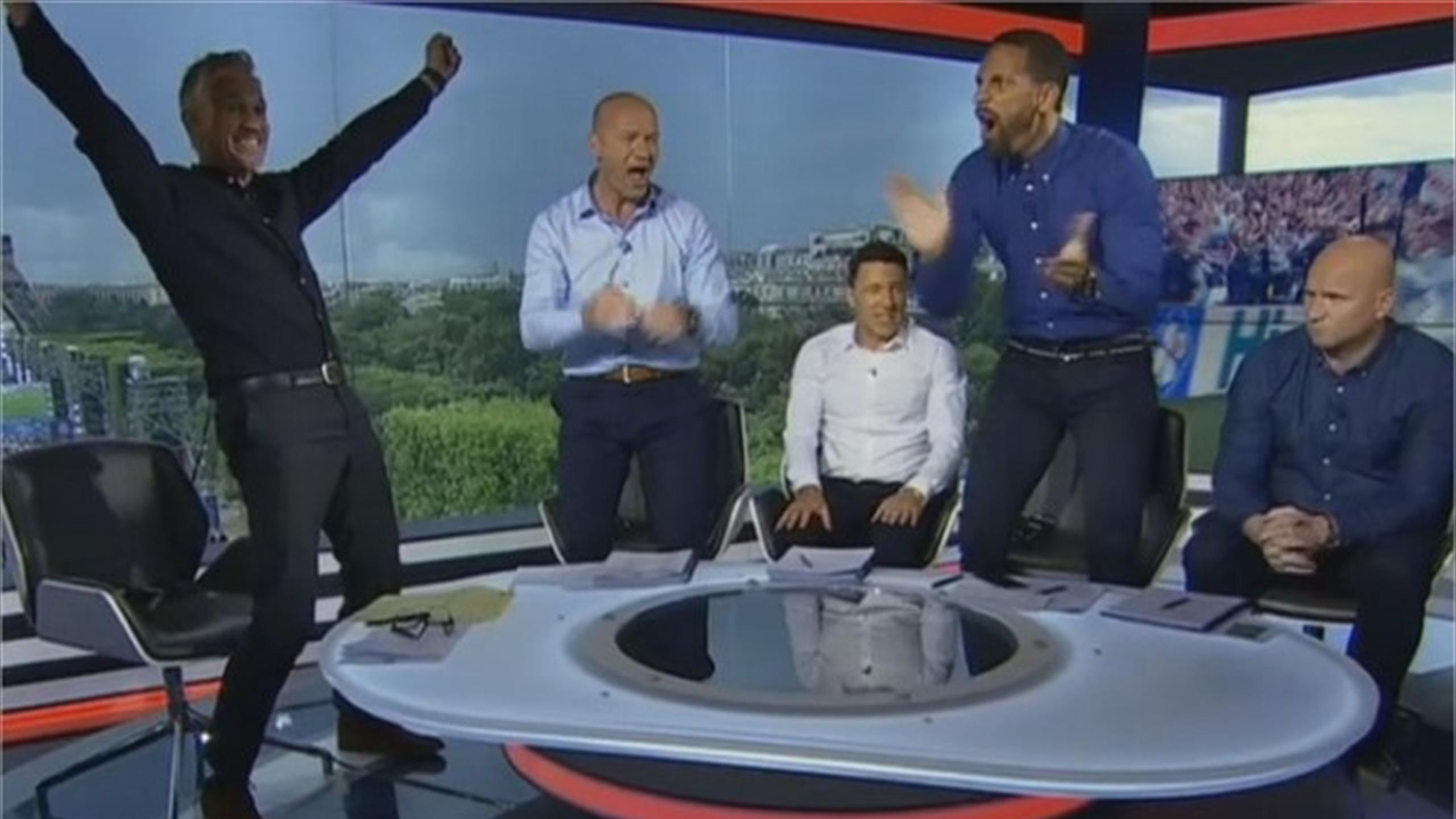 Gary Lineker, Alan Shearer and Rio Ferdinand's amusing studio reaction to England winner against Wales (BBC)