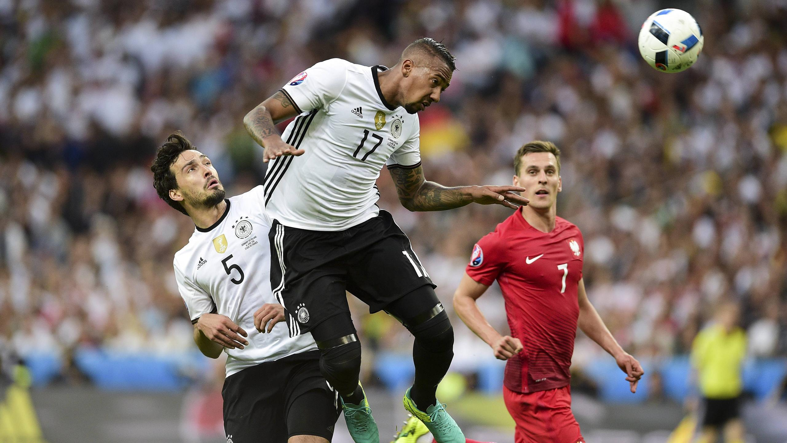 Mats Hummels and Jerome Boateng of team germany in the match against Poland