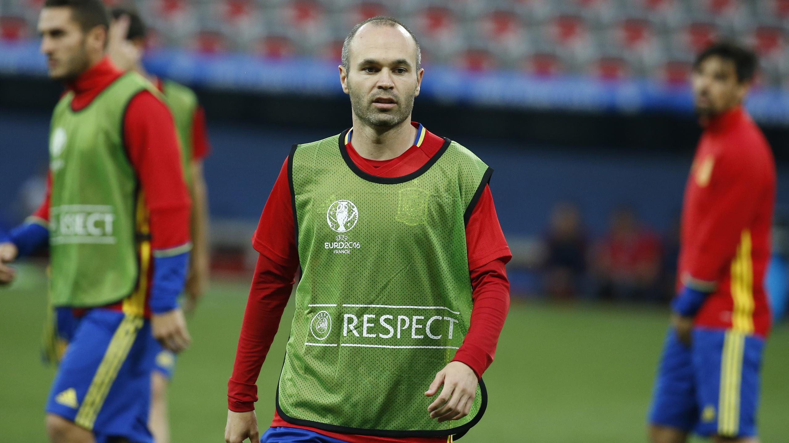 Spain's Andres Iniesta during a training session