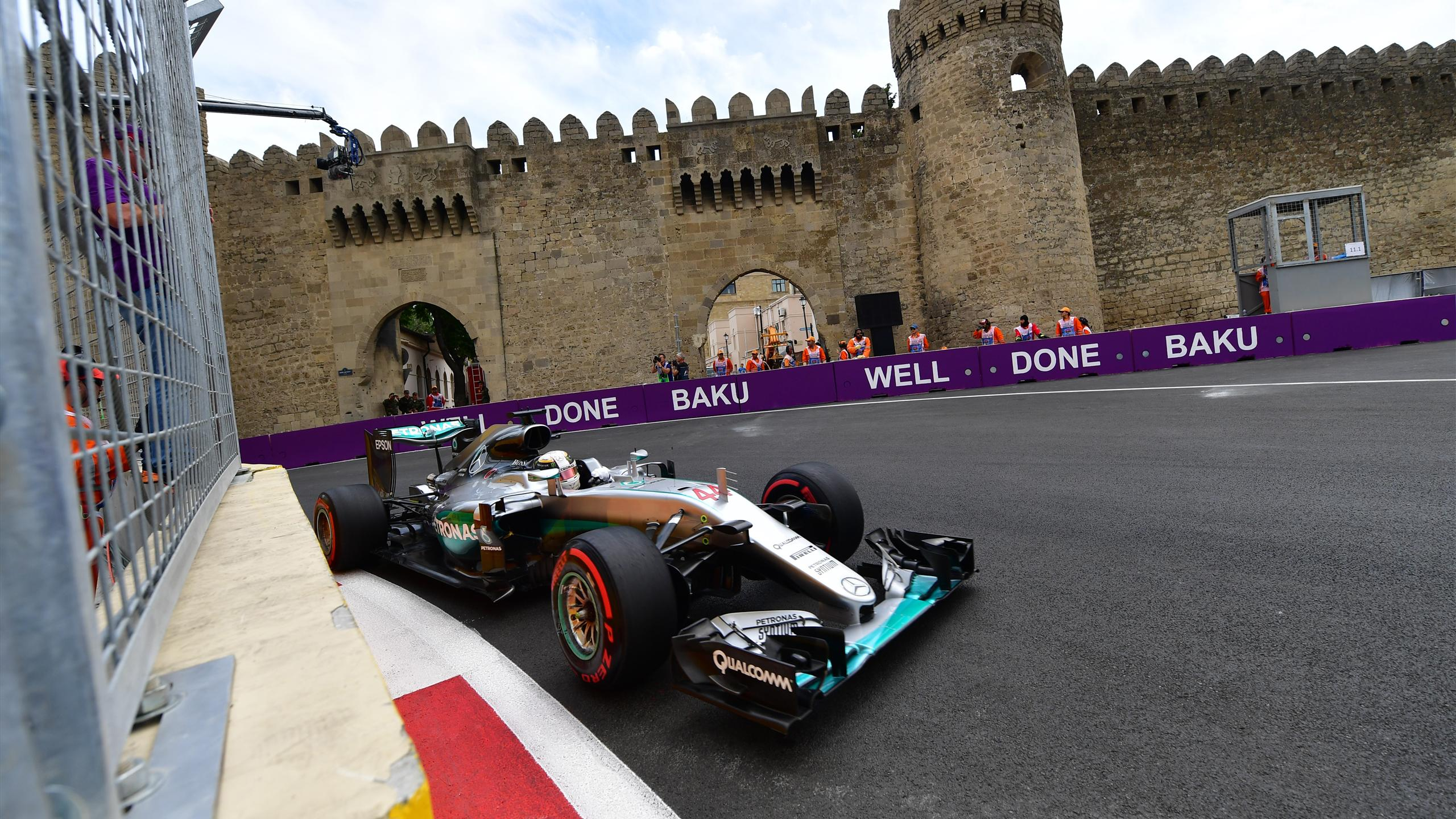 Mercedes AMG Petronas F1 Team's British driver Lewis Hamilton steers his car at the Baku City Circuit,