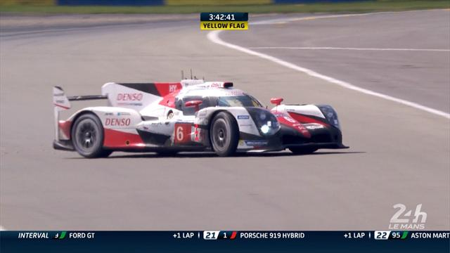 Kamui Kobayashi spins off track at Le Mans