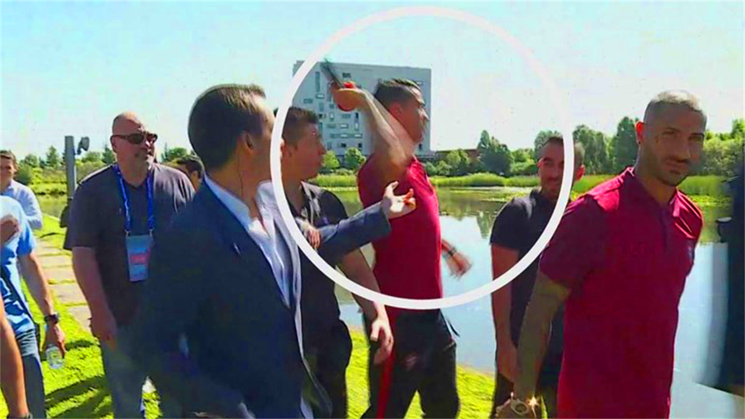 Cristiano Ronaldo doesn't like reporter's question, so throws microphone in lake (Record)