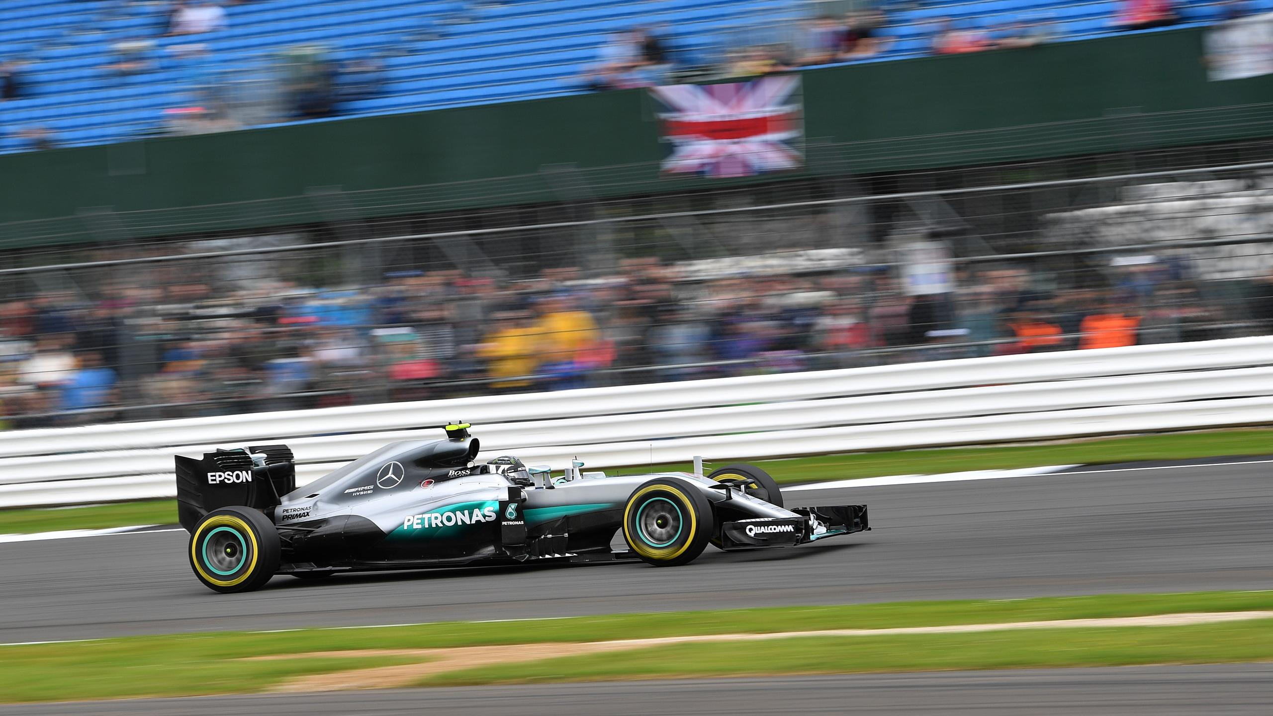 Mercedes AMG Petronas F1 Team's German driver Nico Rosberg drives during the third practice session during at Silverstone motor racing circuit in Silverstone