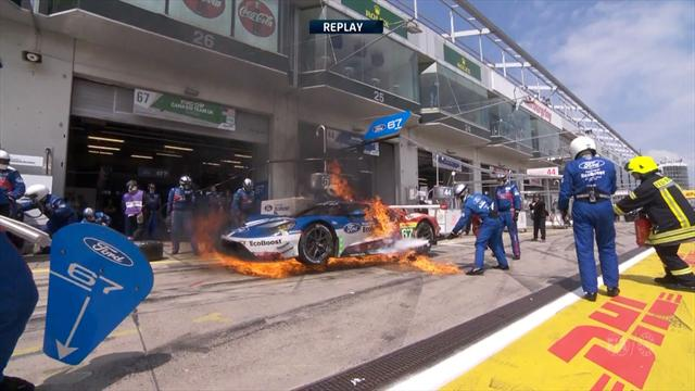 Car catches fire in pitlane, driver escapes cockpit
