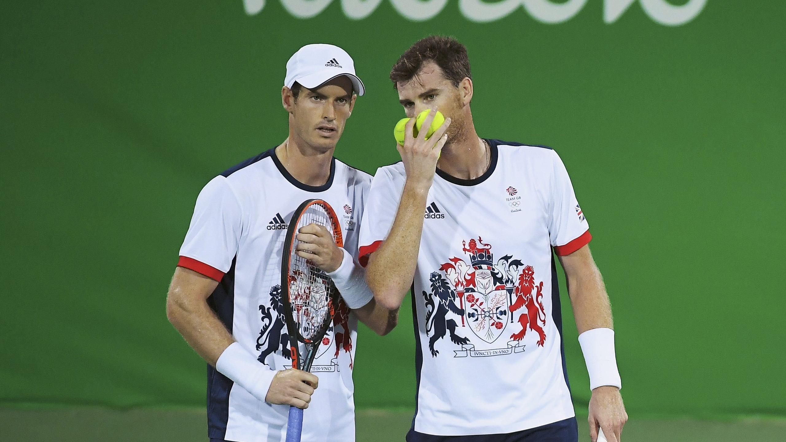 Andy Murray (GBR) of United Kingdom and Jamie Murray (GBR) of United Kingdom are seen during their match against Thomaz Bellucci (BRA) of Brazil and Andre Sa (BRA) of Brazil