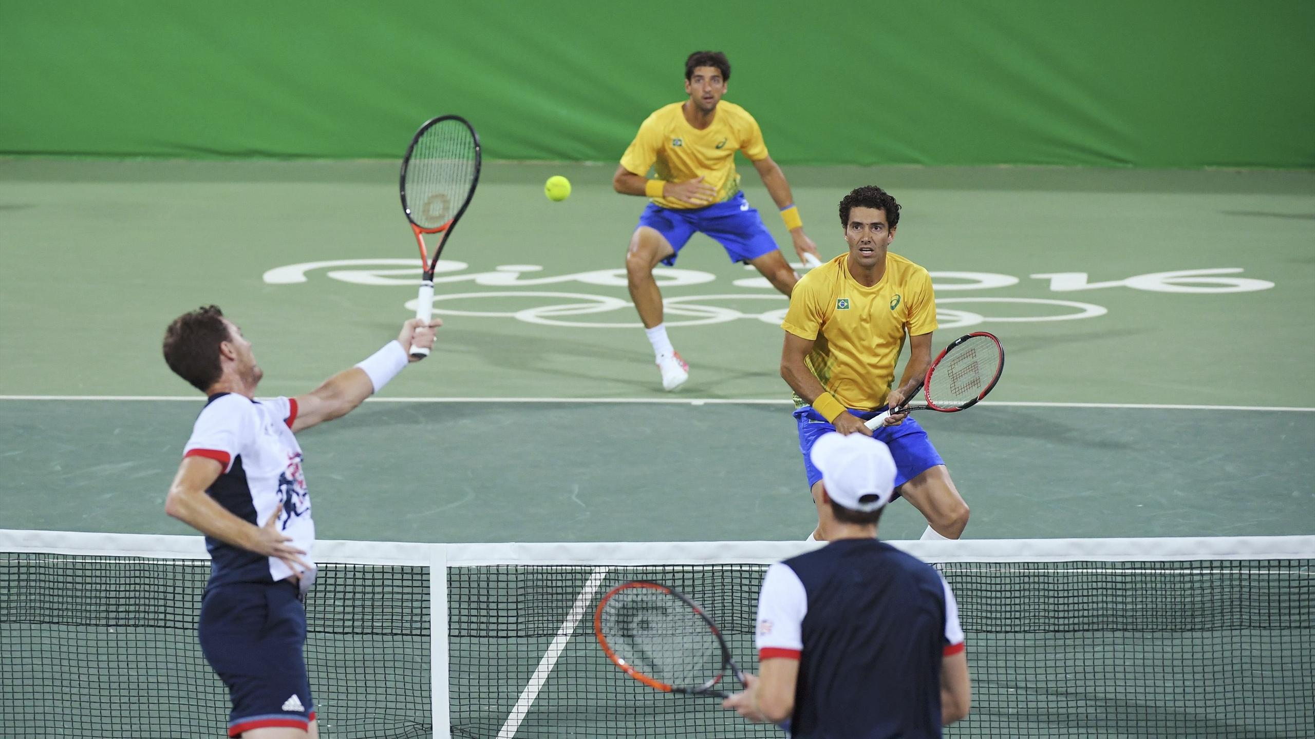 Thomaz Bellucci (BRA) of Brazil and Andre Sa (BRA) of Brazil are seen during their match against Andy Murray (GBR) of United Kingdom and Jamie Murray (GBR) of United Kingdom