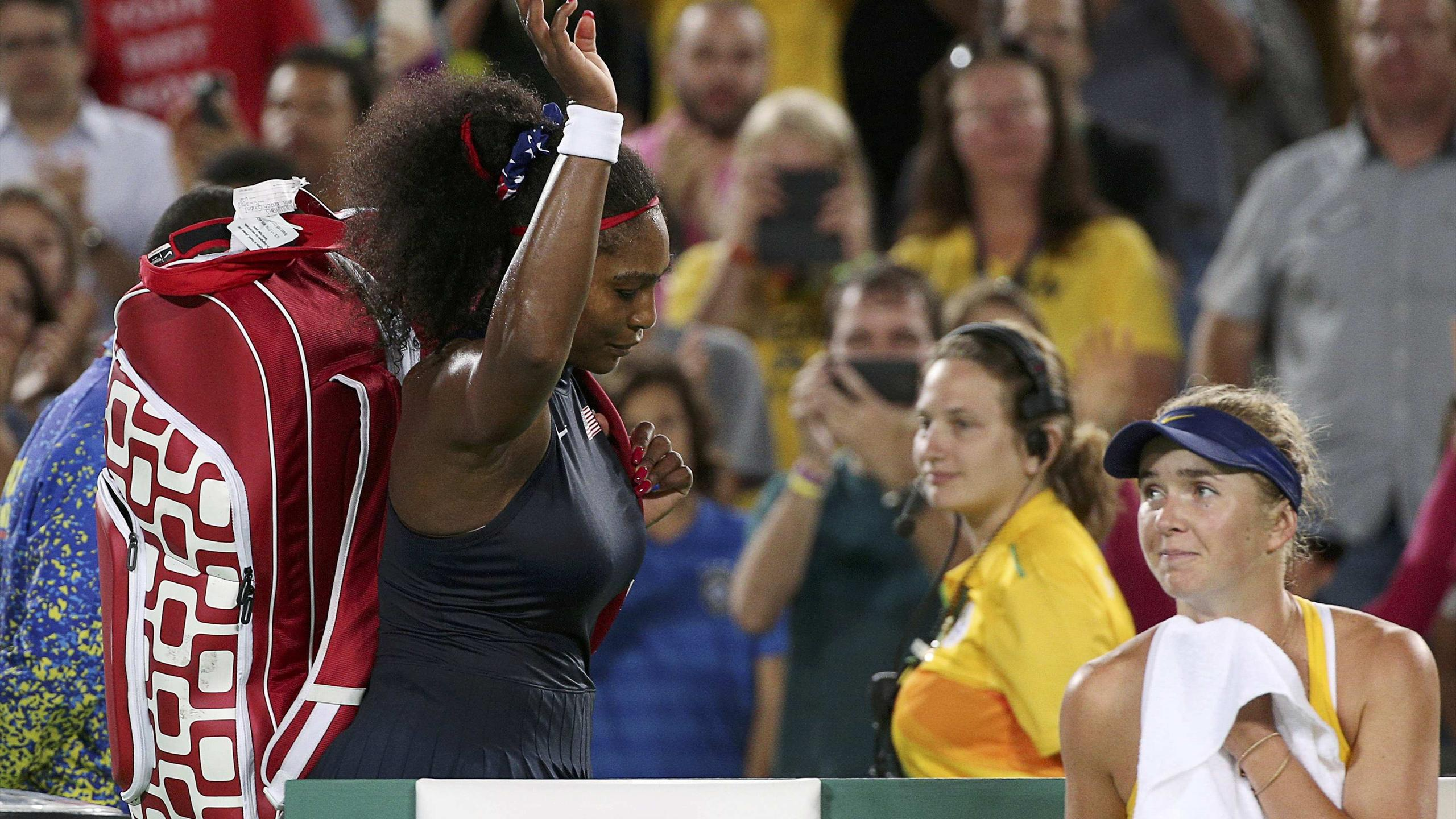 Serena Williams (USA) of USA is dejected after her match against Elina Svitolina (UKR) of Ukraine at Rio 2016