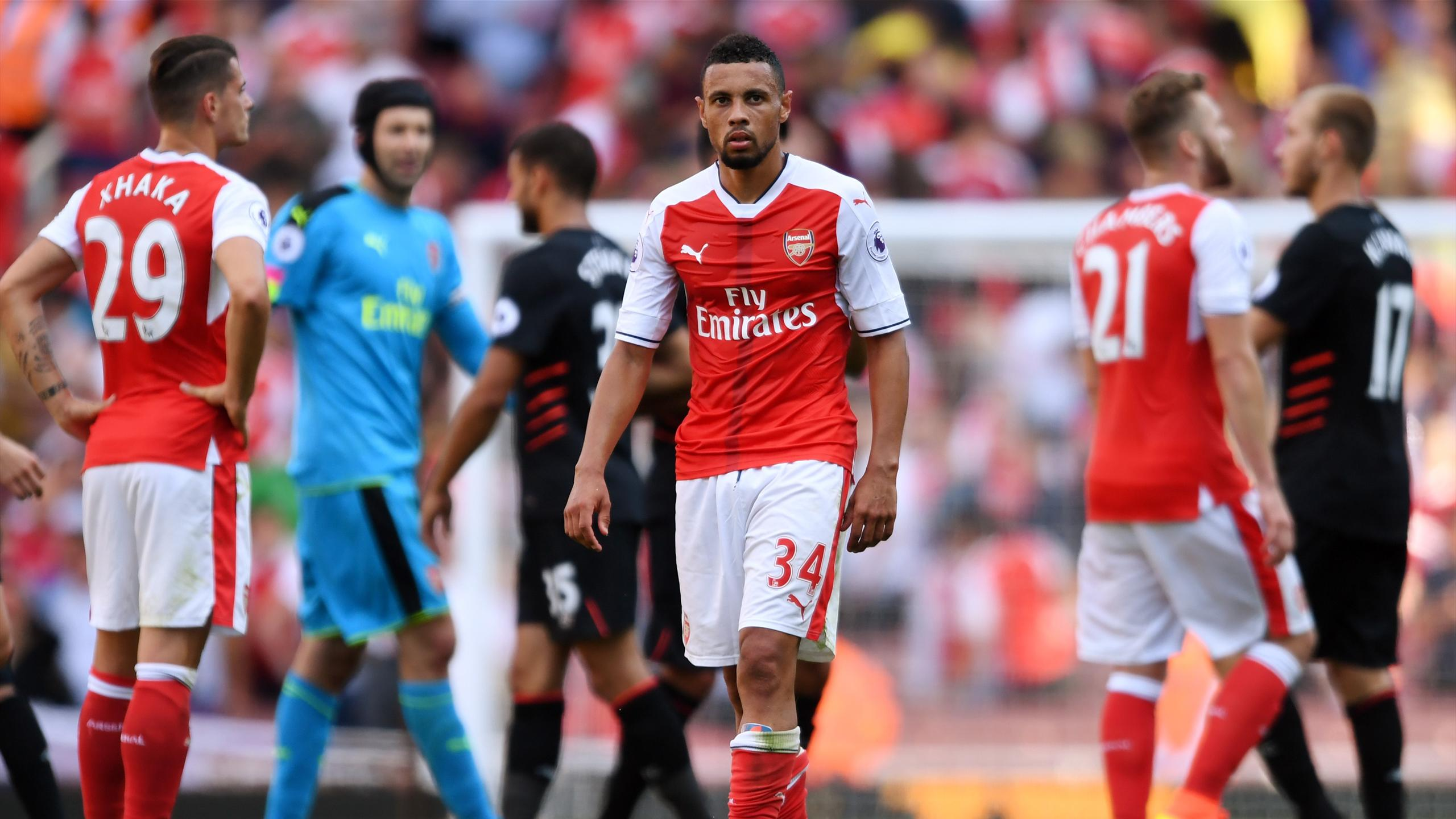 Arsenal's Francis Coquelin dejected after the match