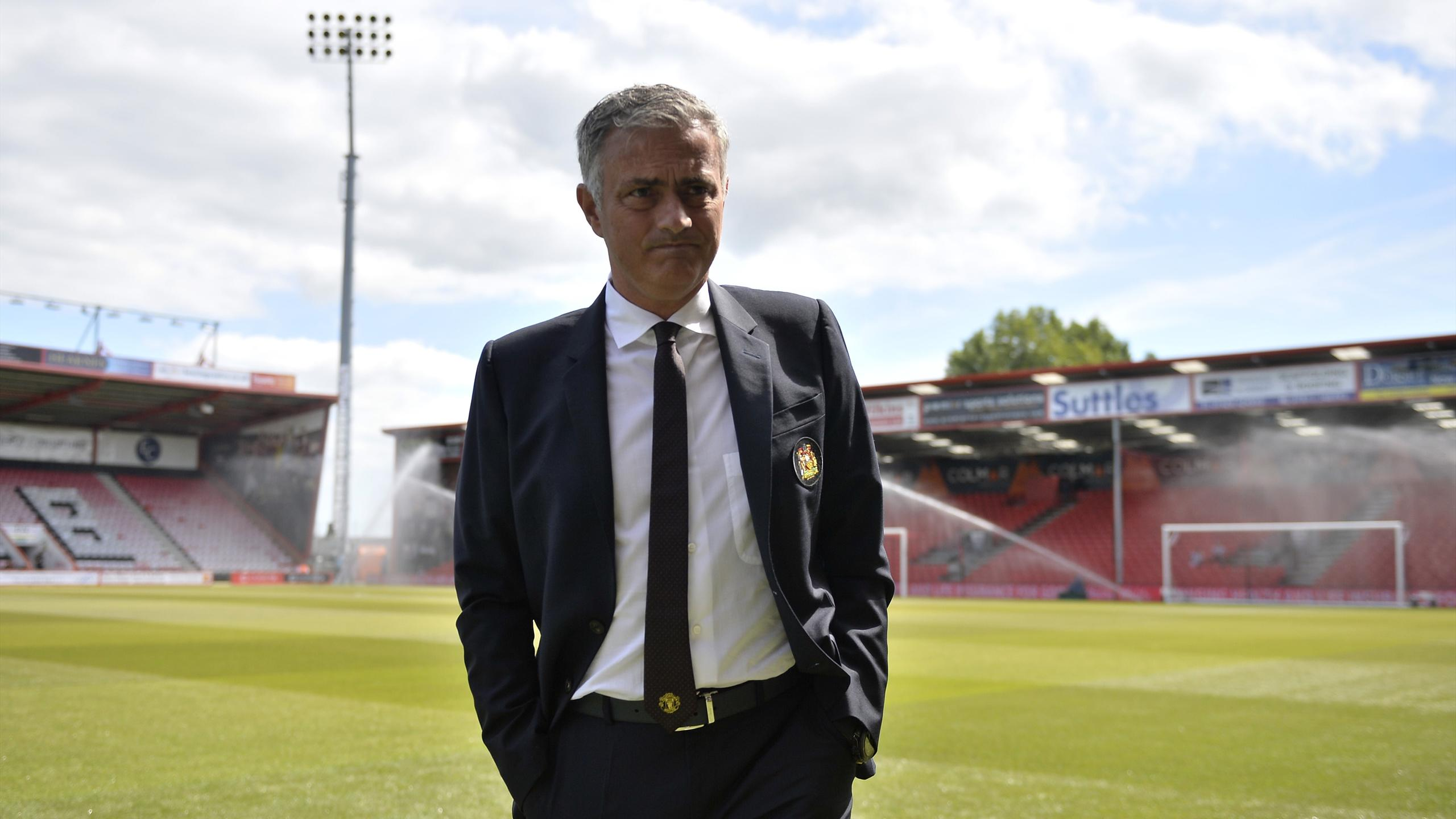 Manchester United manager Jose Mourinho on the pitch before the match