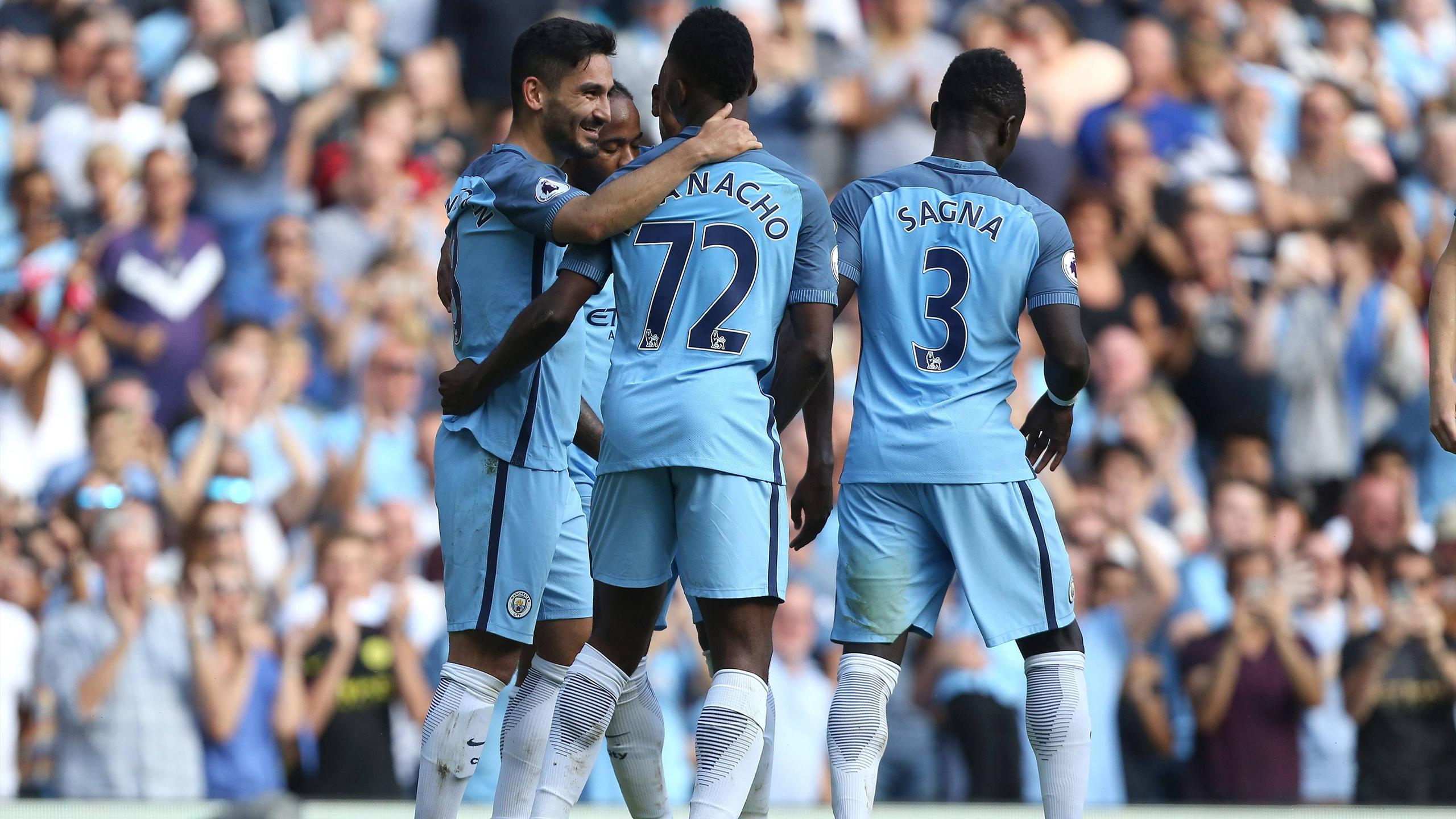 Ilkay Gündogan celebrates his first goal for Manchester City