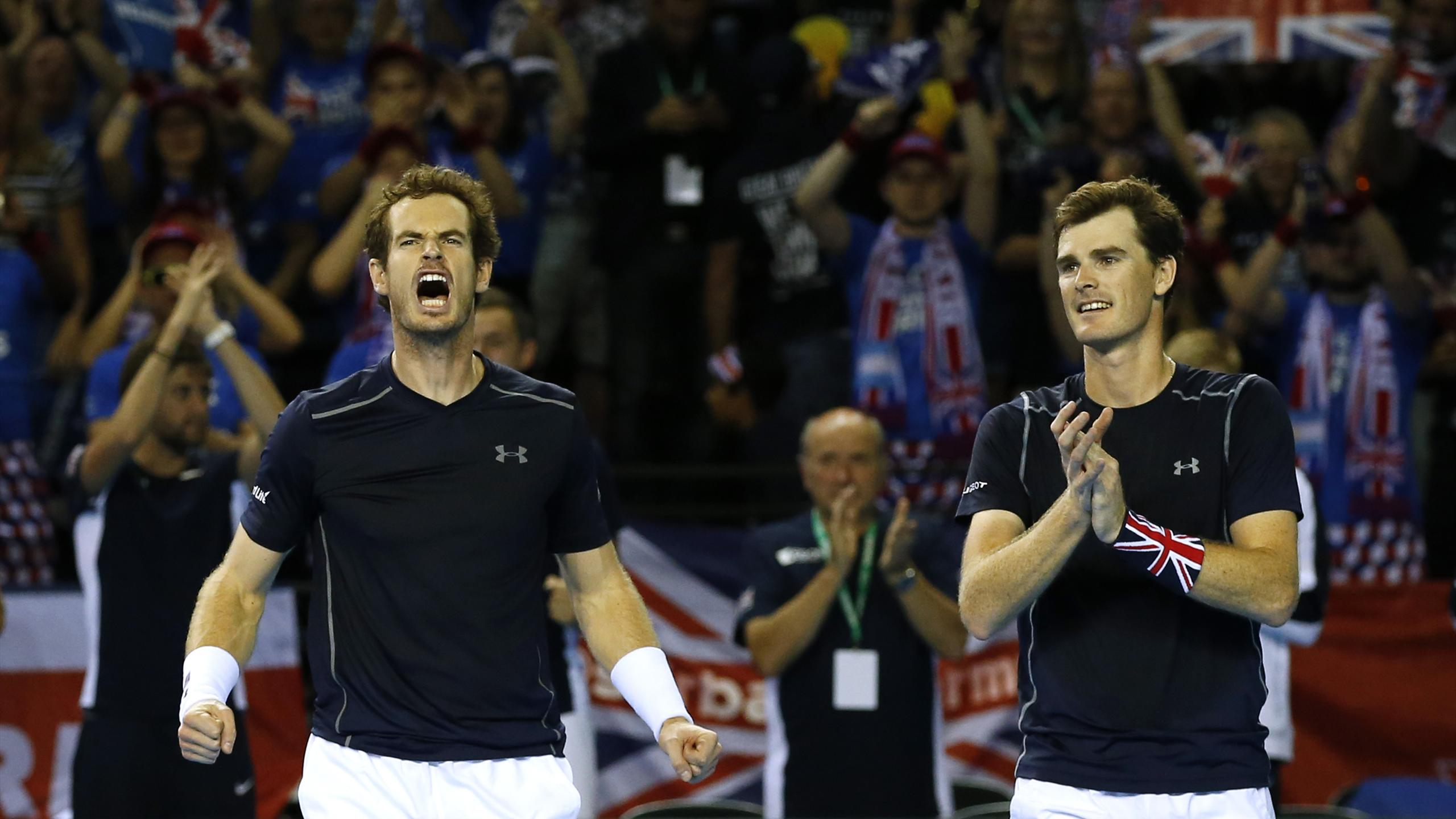 Andy and Jamie Murray celebrate Great Britain's doubles victory over Argentina in their Davis Cup semi-final
