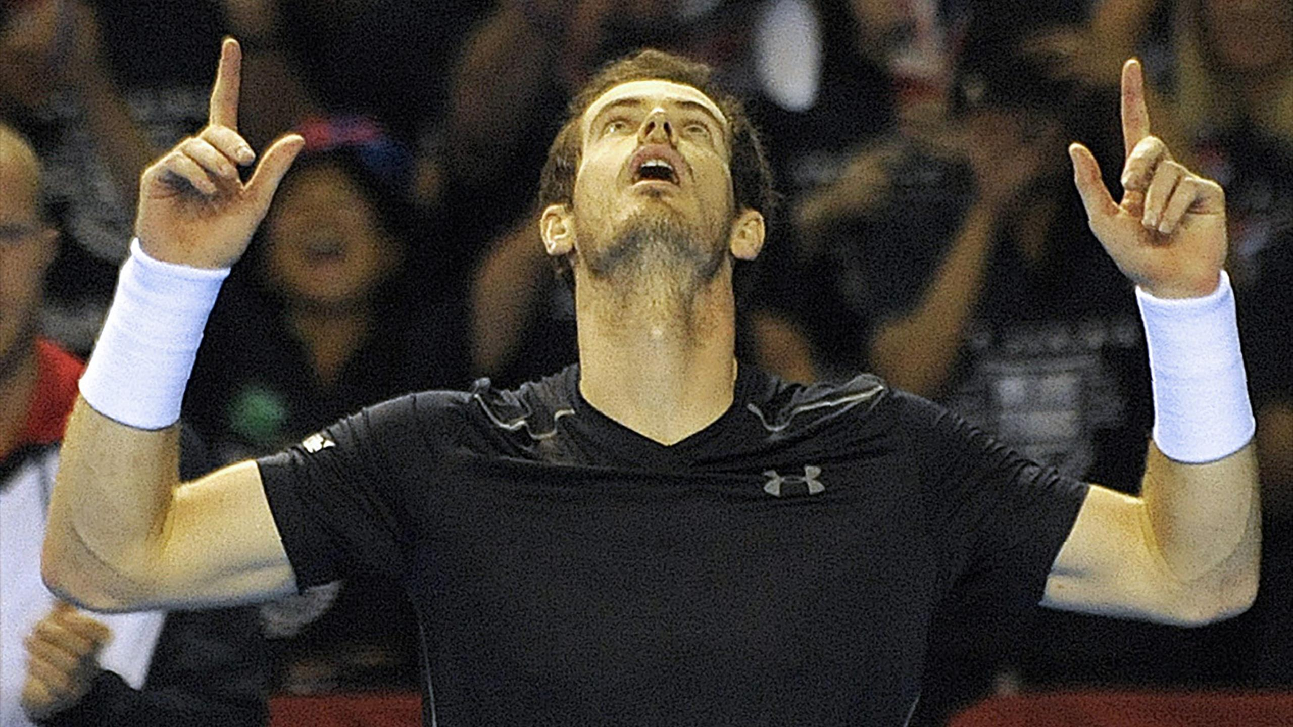 Britain's Andy Murray reacts after his straight sets win over Argentina's Guido Pella