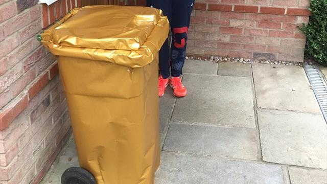 Gold medallist welcomed back from Rio – with gold wheelie bin