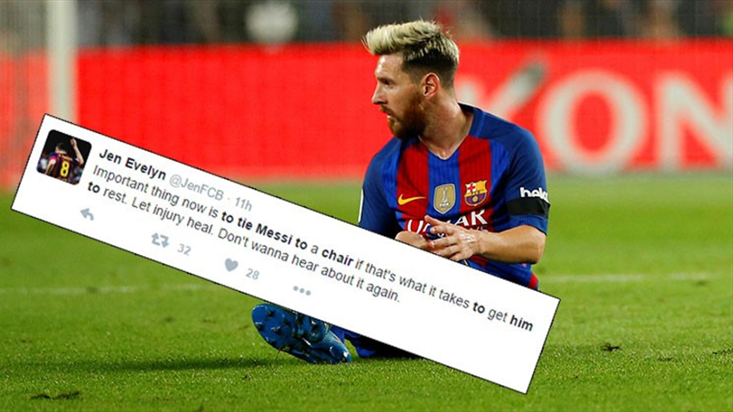 Twitter reaction to Lionel Messi suffering his injury