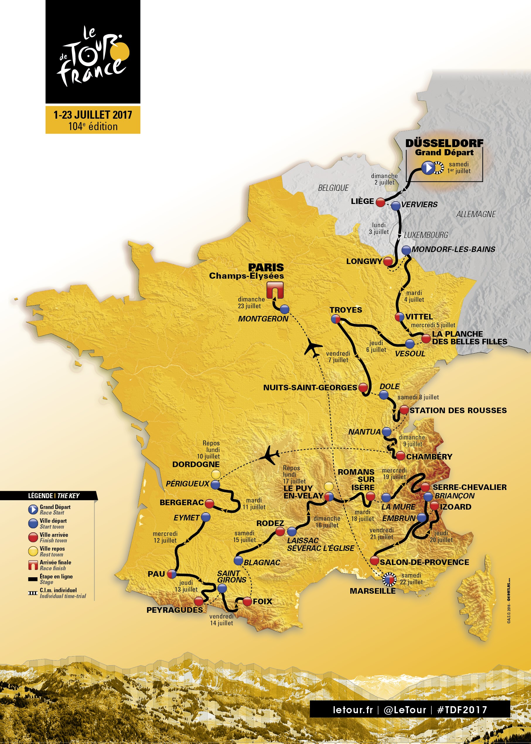 A map of the itinerary of the 2017 Tour de France cycling race is presented during a news conference in Paris in this handout picture released by ASO, on October 18, 2016