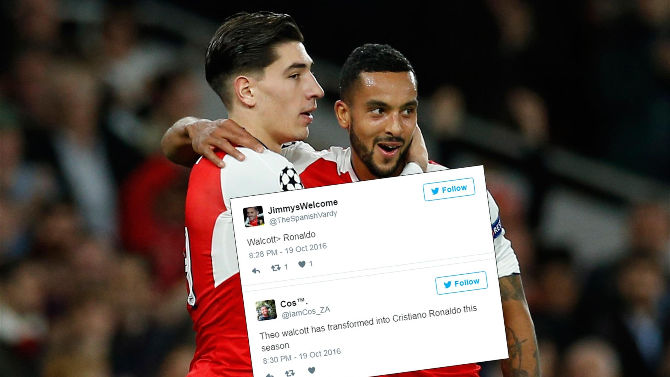 Twitter reaction to Theo Walcott scoring against Ludogorets in the Champions League
