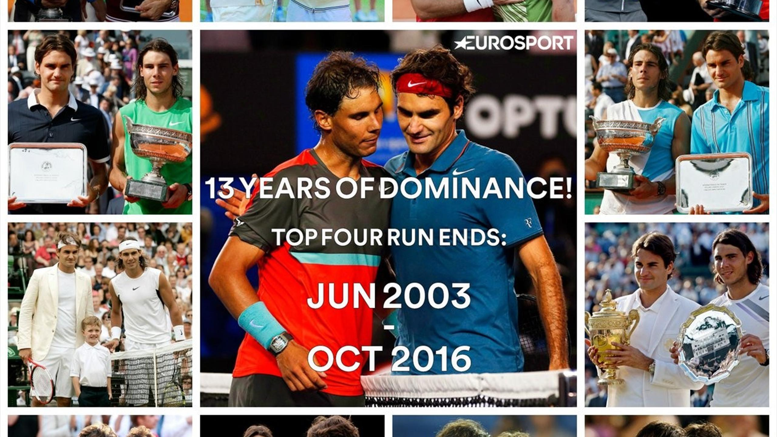 Celebrating Roger Federer and Rafael Nadal's dominance with both out of the world's top four - for the first time in 13 years
