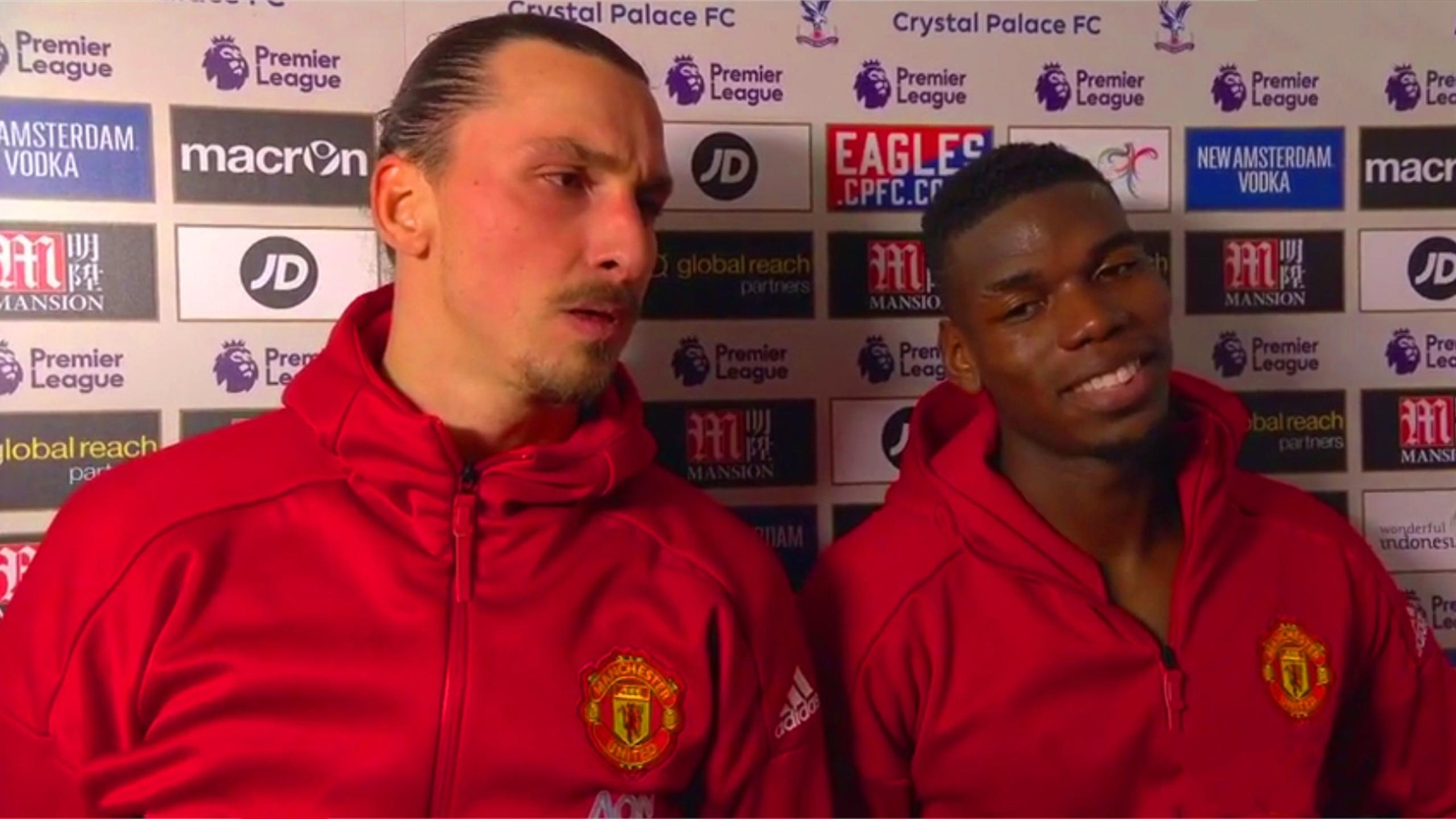 Zlatan Ibrahimovic and Paul Pogba after a Manchester United win (BT Sport on Twitter)