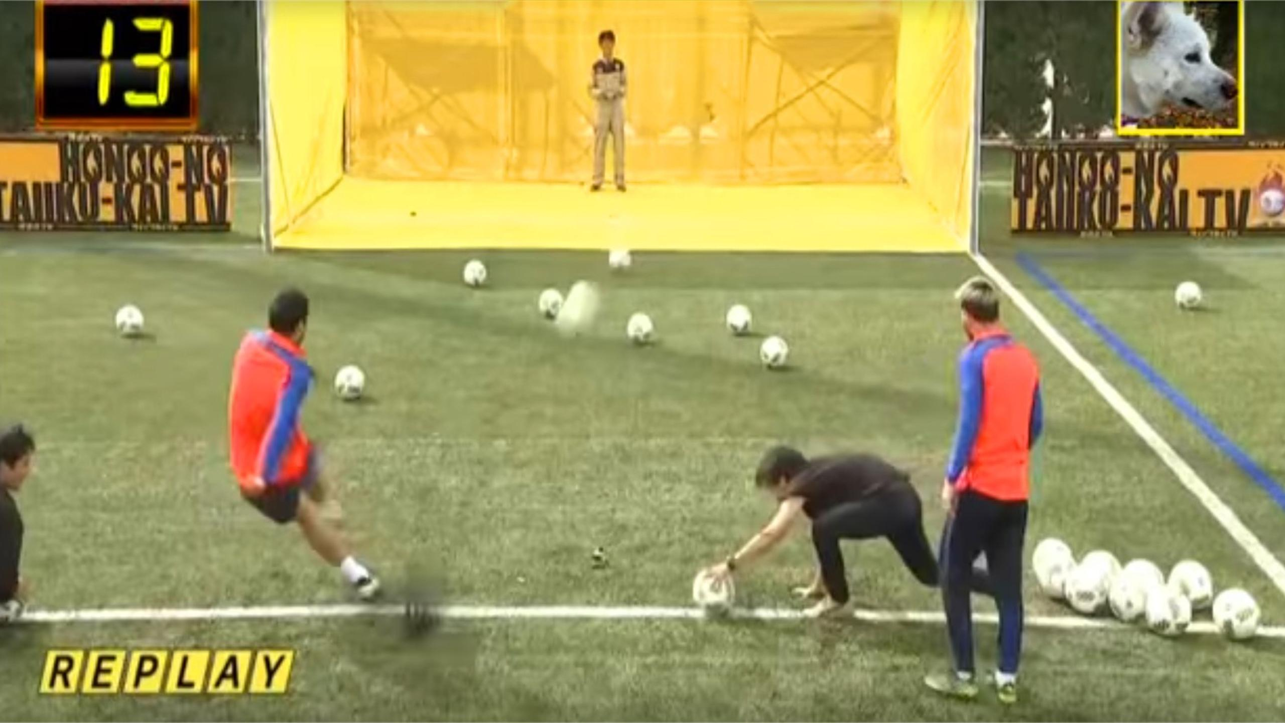 Lionel Messi and Luis Suarez take on a drone in very bizarre Japanese TV show (Youtube)