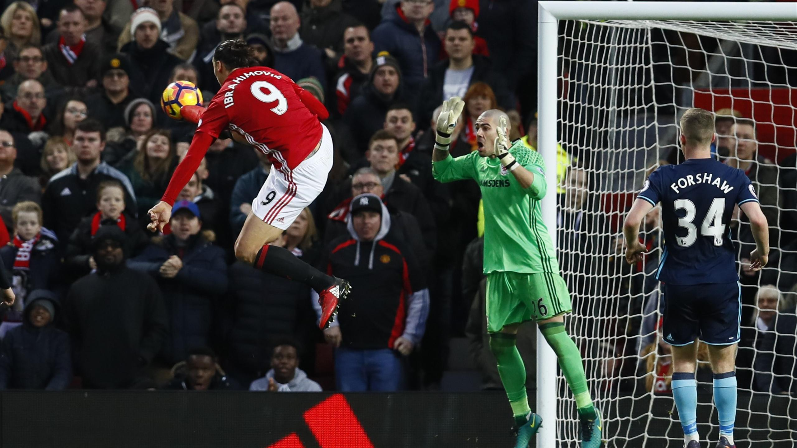 Zlatan Ibrahimovic has this goal disallowed against Middlesbrough
