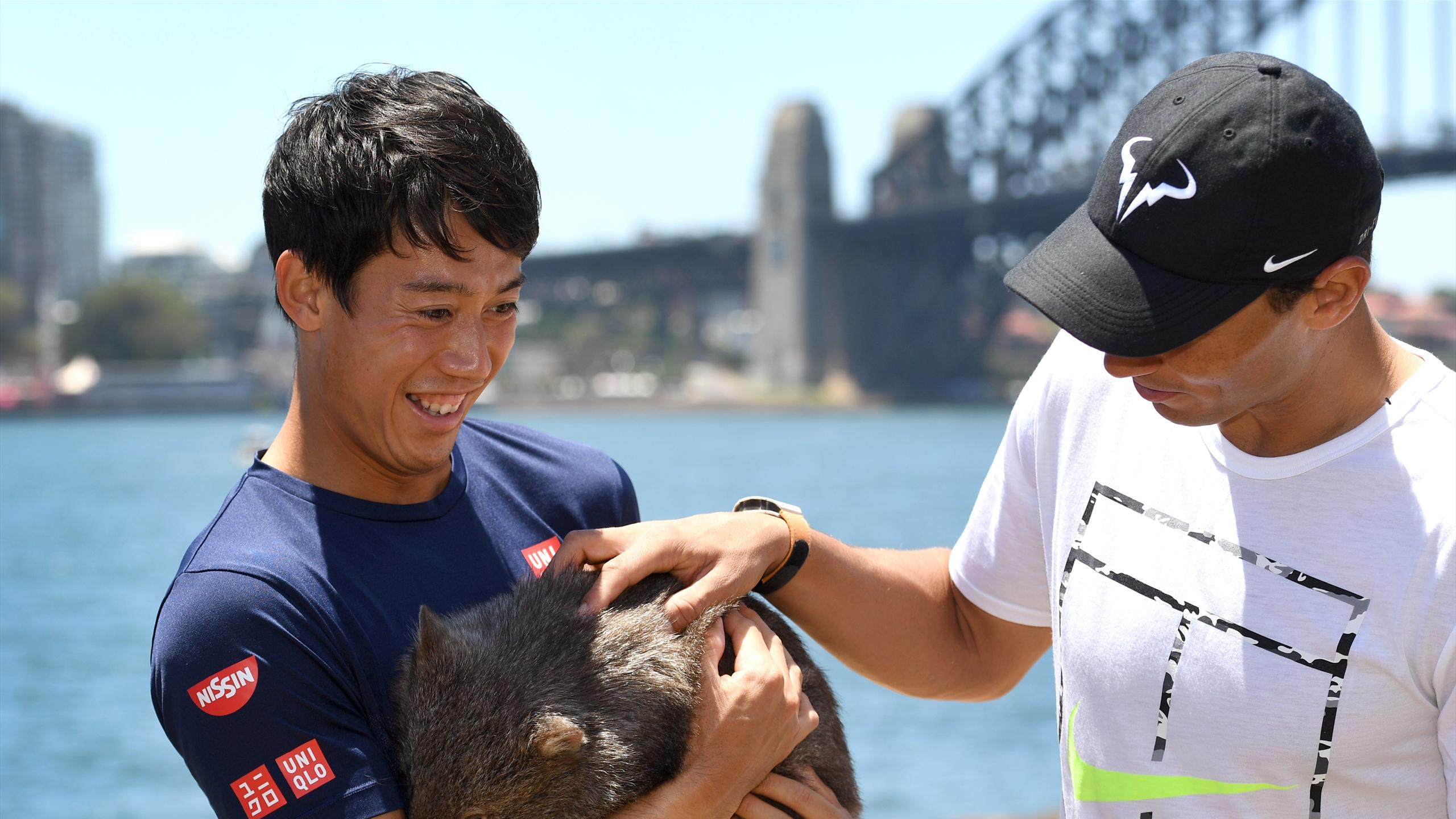 Tennis players Rafael Nadal of Spain (L) and Kei Nishikori of Japan (R) handle a 10-month old wombat called Lola