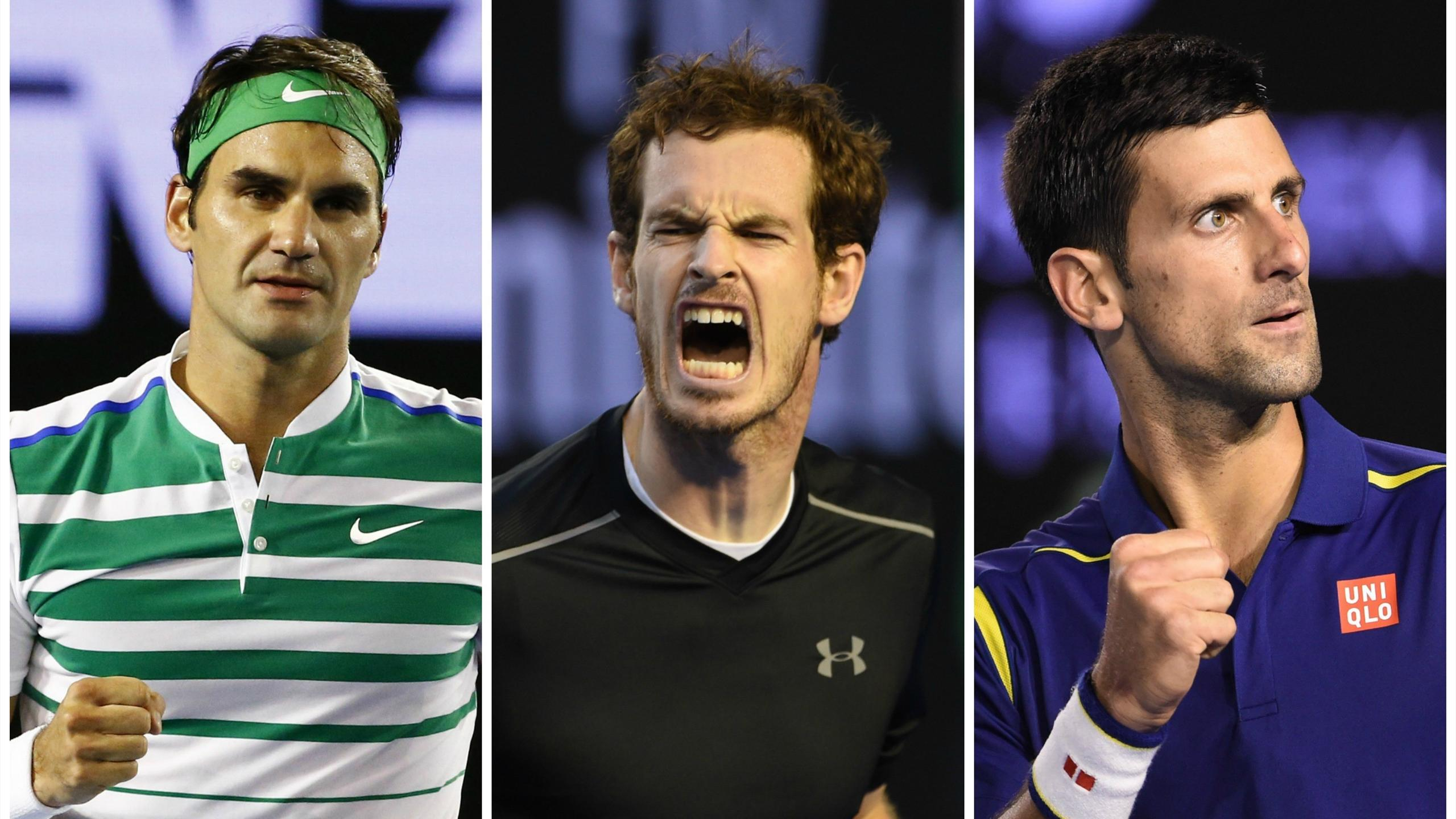 Roger Federer, Andy Murray and Novak Djokovic