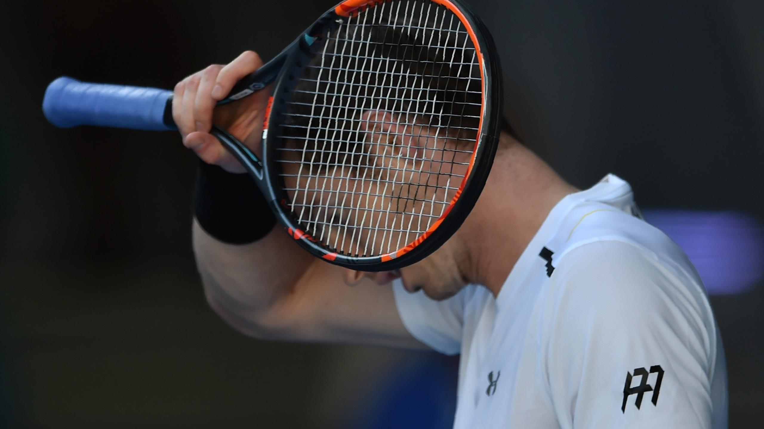 Britain's Andy Murray reacts after a point against Ukraine's Illya Marchenko