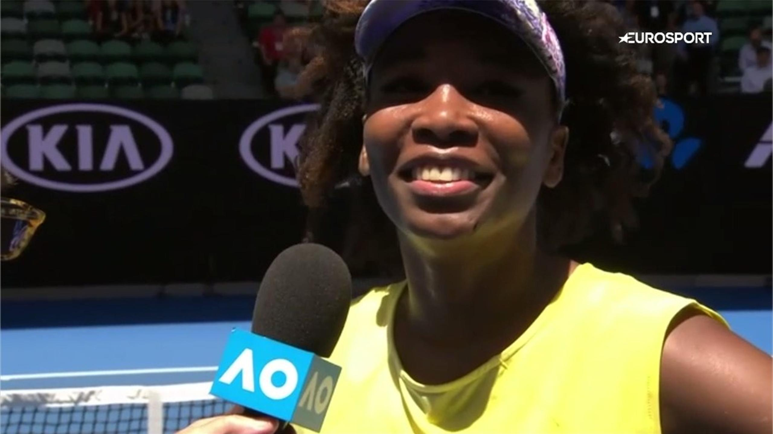 Venus Williams laughs during her interview