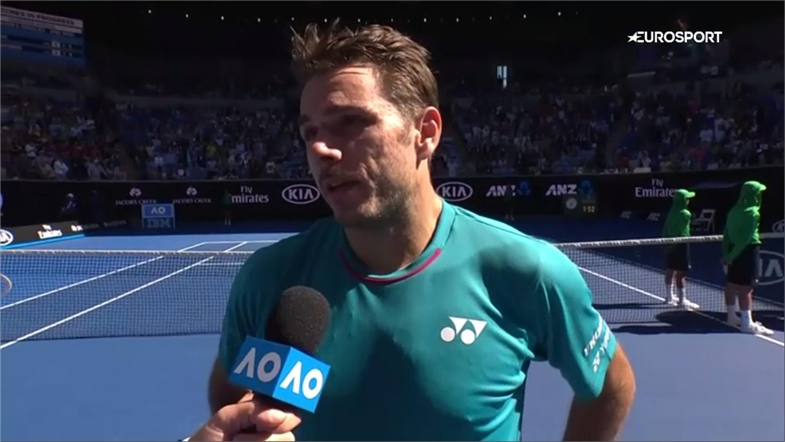 Stanislas Wawrinka chats after his latest win at the Australian Open