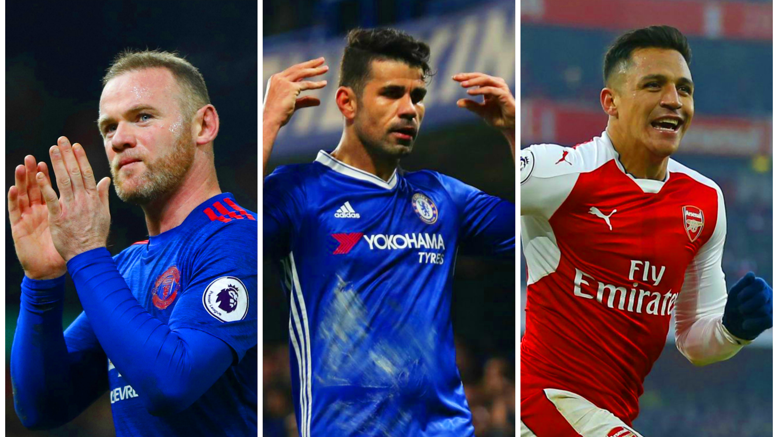 Wayne Rooney, Diego Costa and Alexis Sanchez