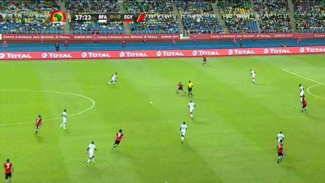 Unusual bounce almost catches out Burkina Faso keeper