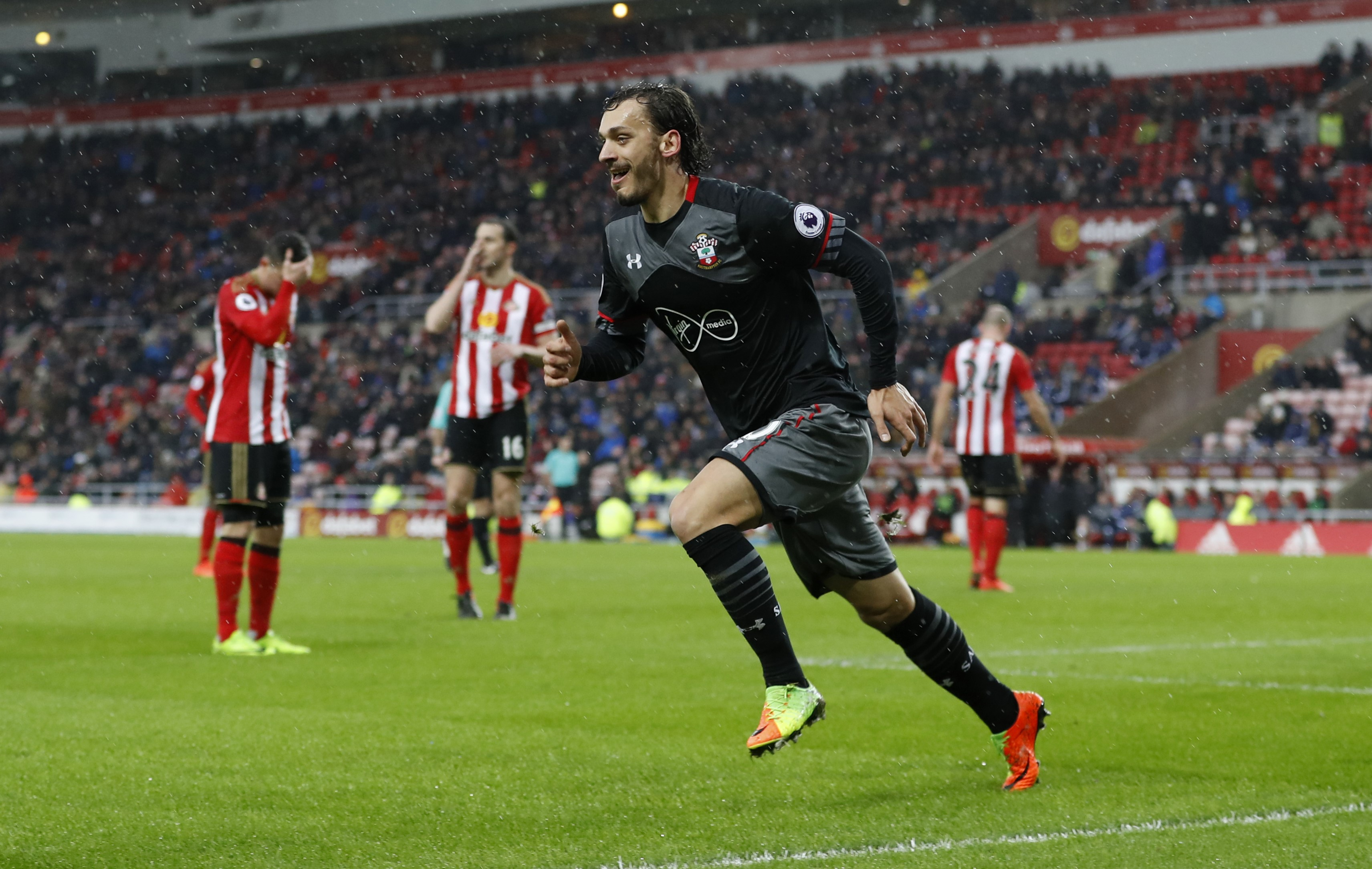 Southampton's Manolo Gabbiadini celebrates scoring their second goal